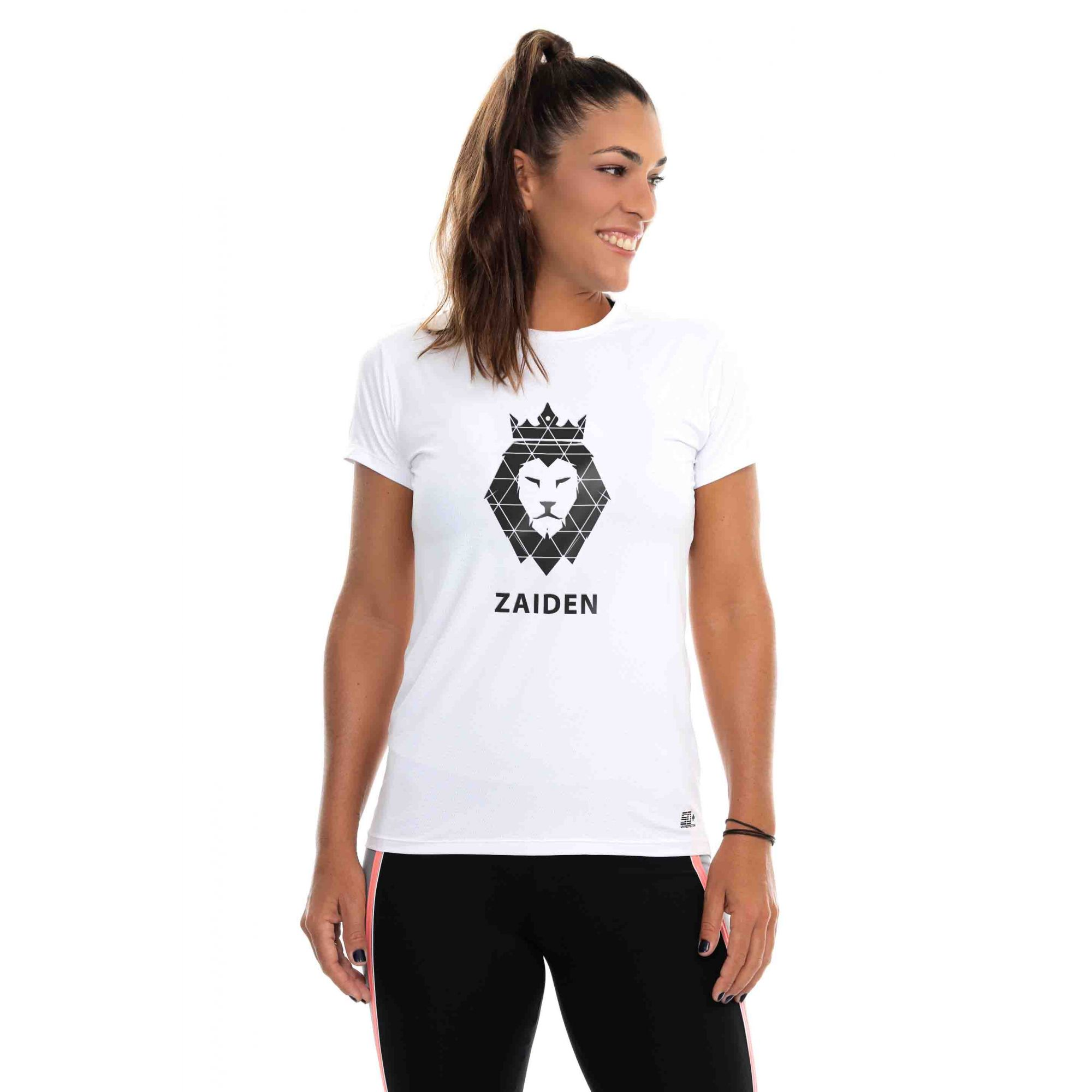 Camiseta Feminina Poliamida Branca ZAIDEN Leão Preto