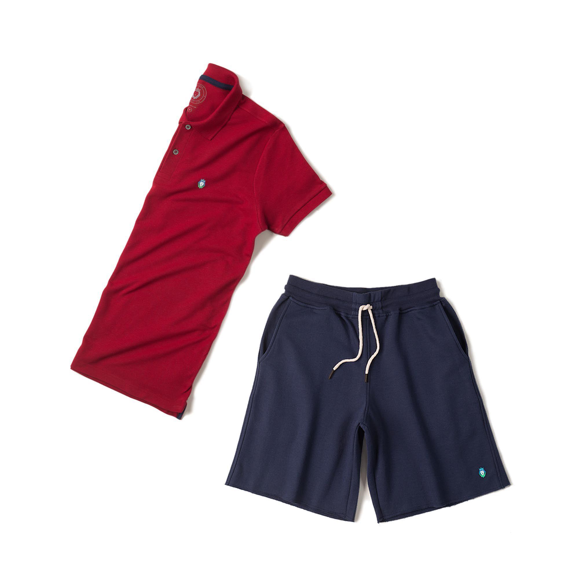 c43bb30bb Kit 1 Bermuda Basic Azul Marinho + 1 Camisa Polo Style Bordô Zaiden  Masculina - ZAIDEN ...