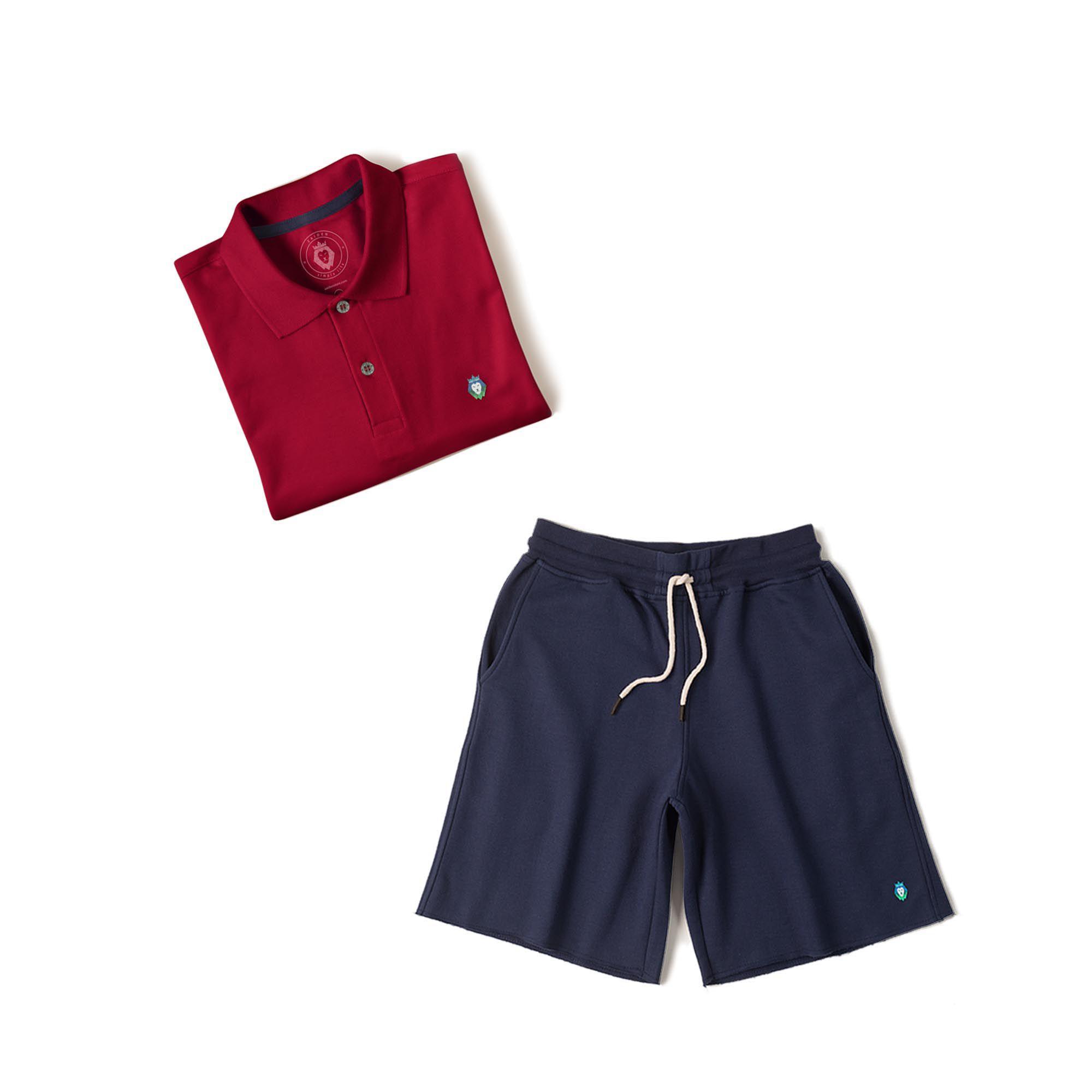 Kit 1 Bermuda Basic Azul Marinho + 1 Camisa Polo Style Bordô Zaiden Masculina