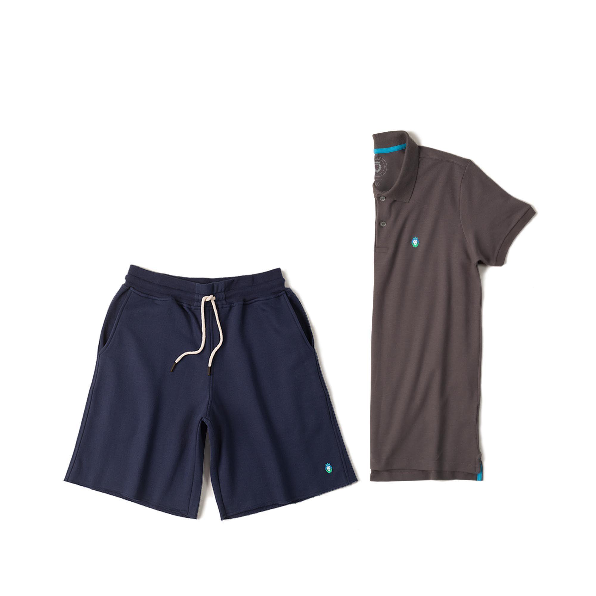 Kit 1 Bermuda Basic Azul Marinho + 1 Camisa Polo Style Cinza Zaiden Masculina