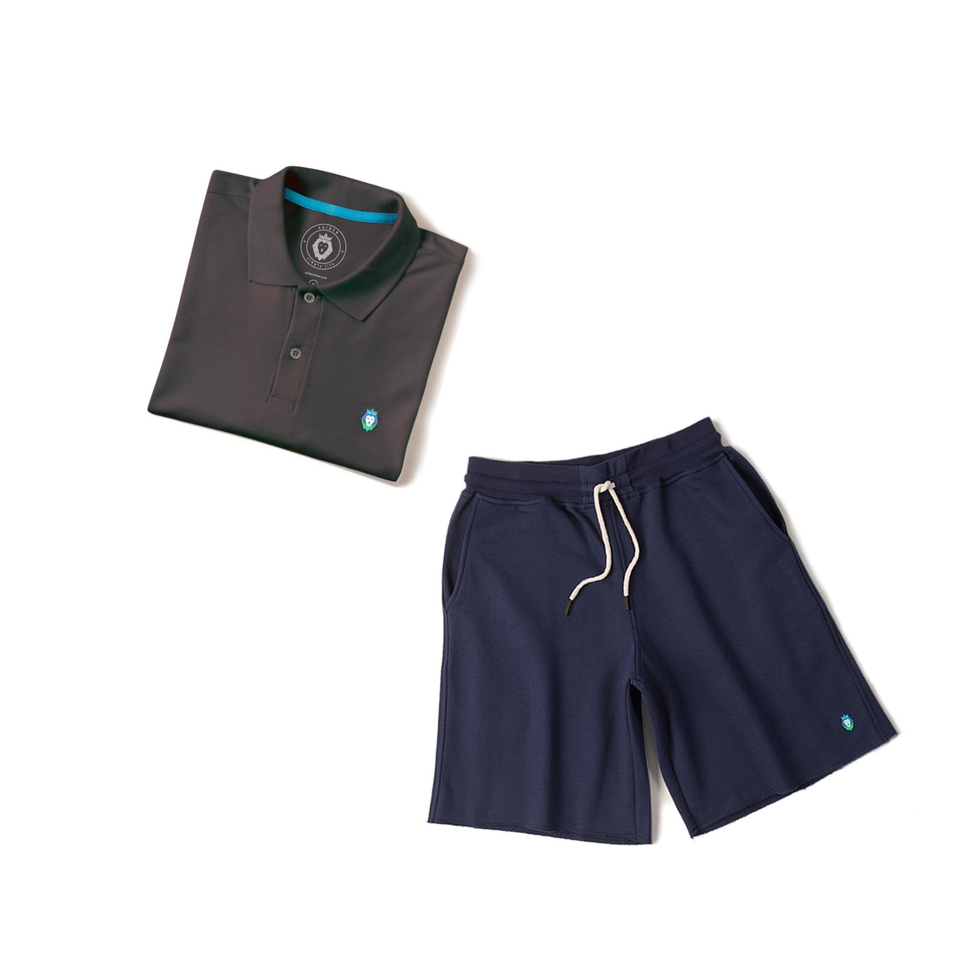 3de998572 ... Kit 1 Bermuda Basic Azul Marinho + 1 Camisa Polo Style Cinza Zaiden  Masculina - ZAIDEN ...