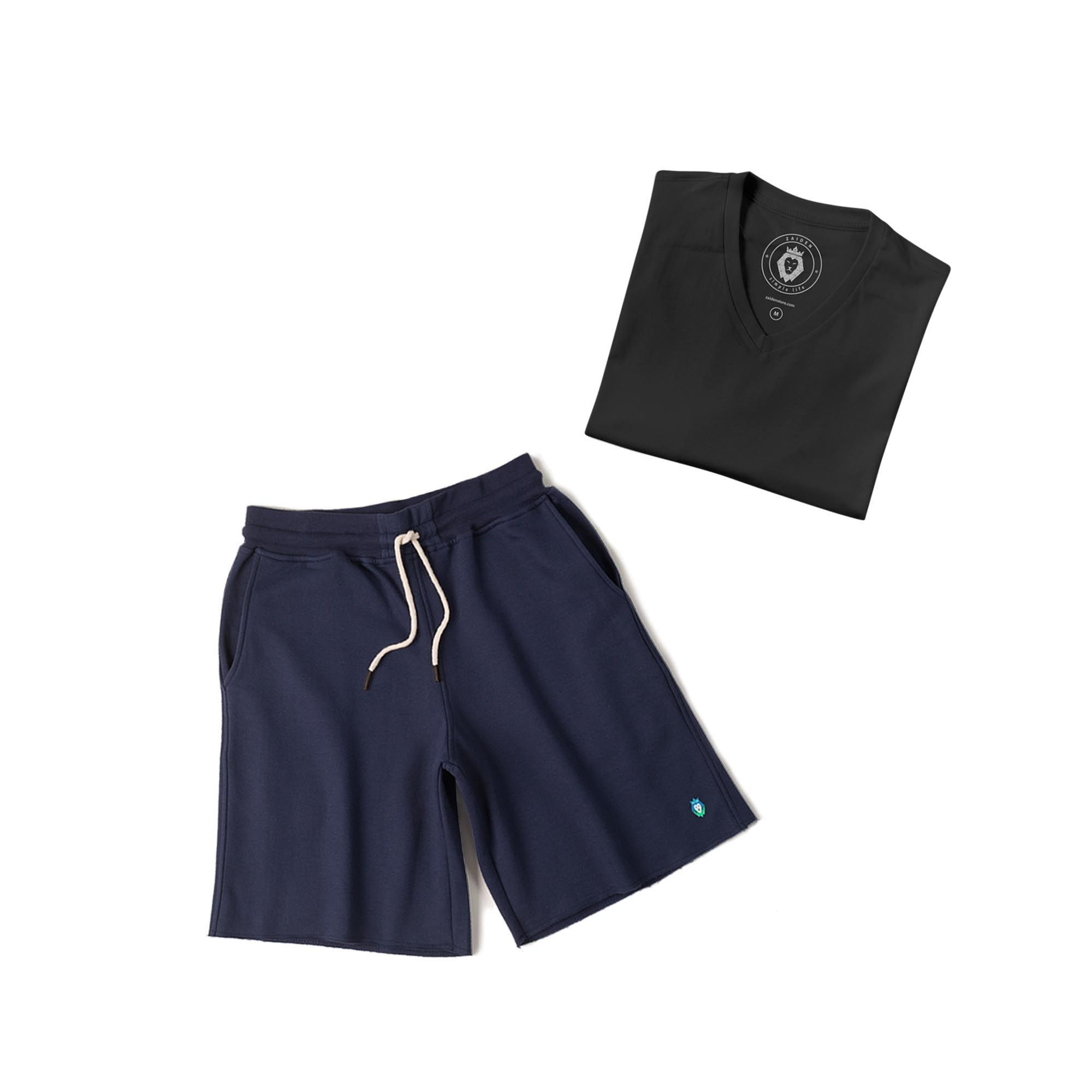 Kit 1 Bermuda Basic Azul Marinho + 1 T-Shirt Basic Preta Zaiden Masculina