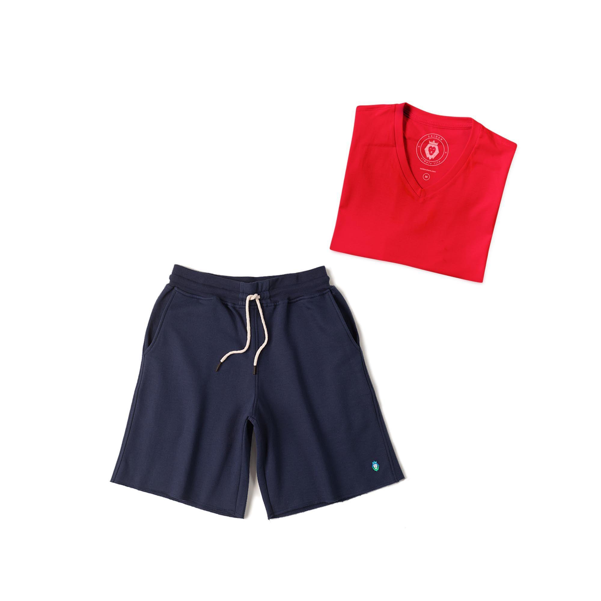 Kit 1 Bermuda Basic Azul Marinho + 1 T-Shirt Basic Vermelha Zaiden Masculina