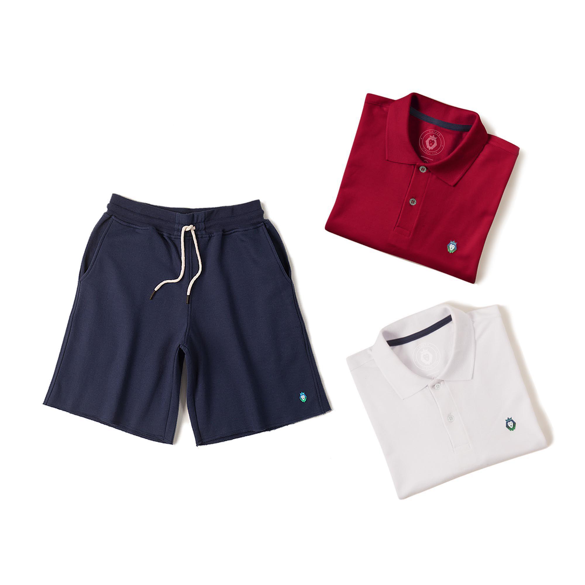 Kit 1 Bermuda Basic Azul Marinho + 2 Camisas Polo Style Branca Bordô Zaiden Masculina