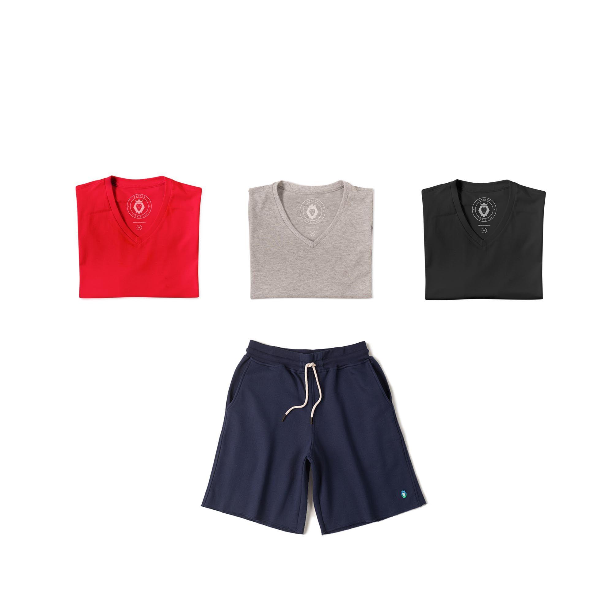 Kit 1 Bermuda Basic Azul Marinho + 3 T-Shirts Basic Mescla Vermelha Preta Zaiden Masculina