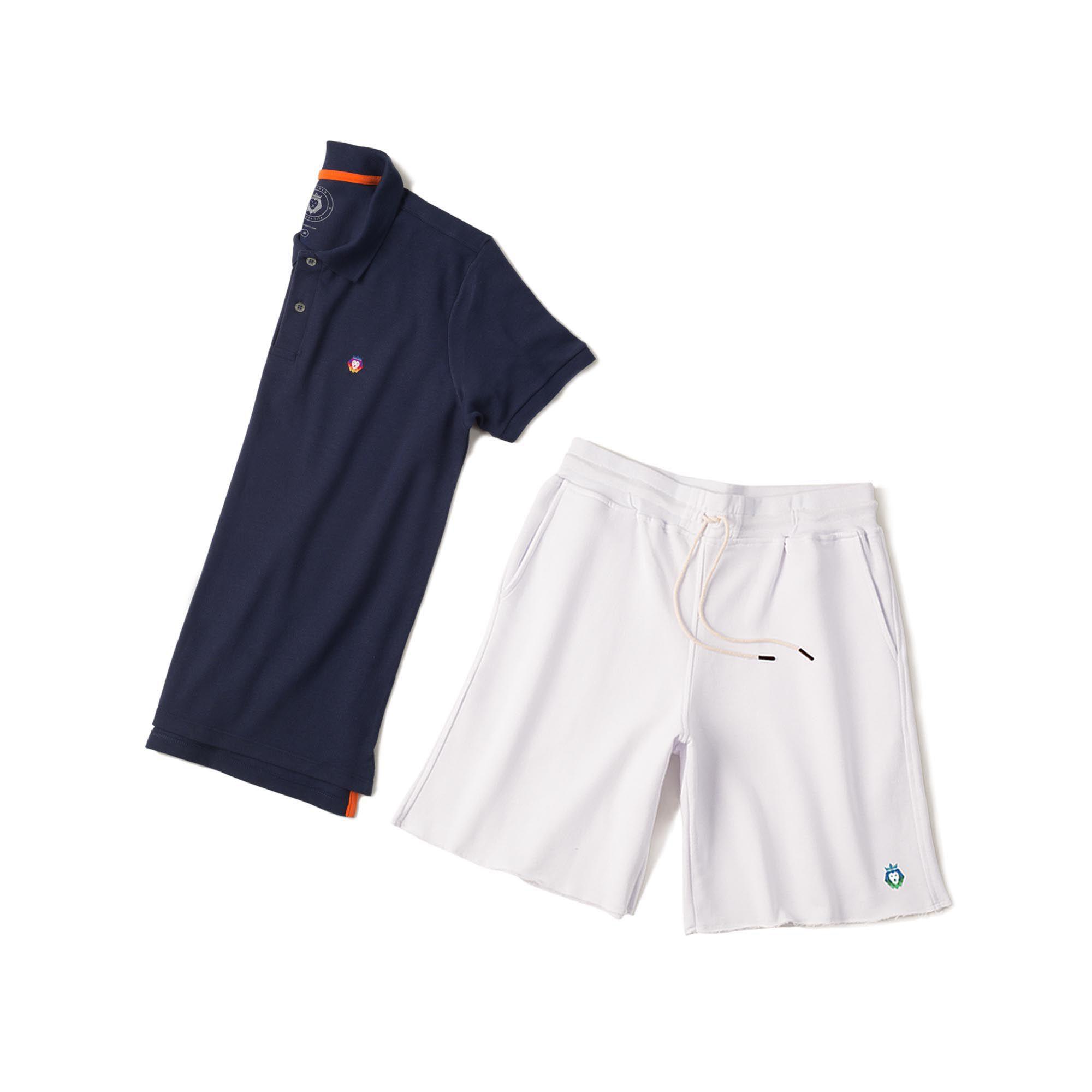 Kit 1 Bermuda Basic Branca + 1 Camisa Polo Style Azul Marinho Zaiden Masculina