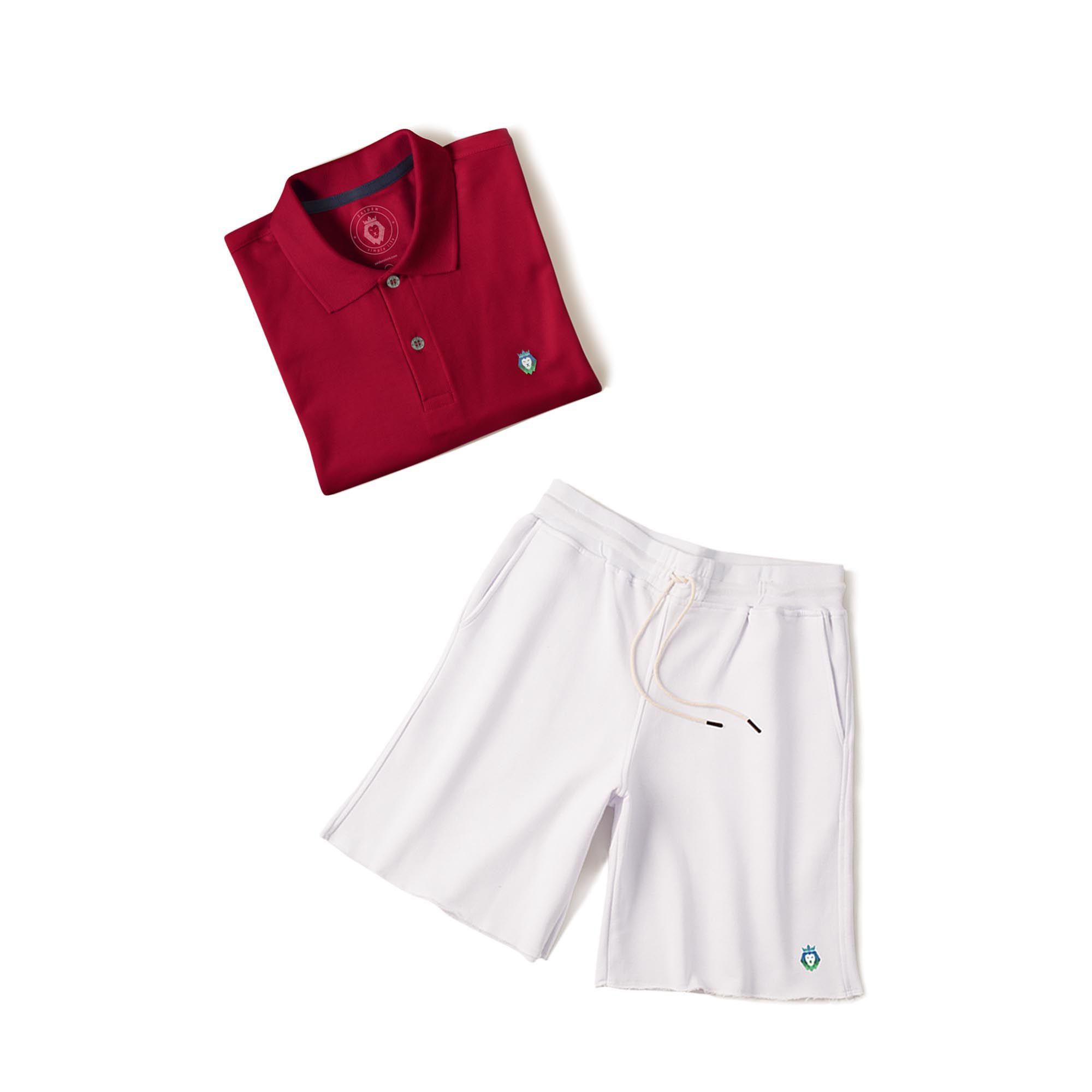 Kit 1 Bermuda Basic Branca + 1 Camisa Polo Style Bordô Zaiden Masculina