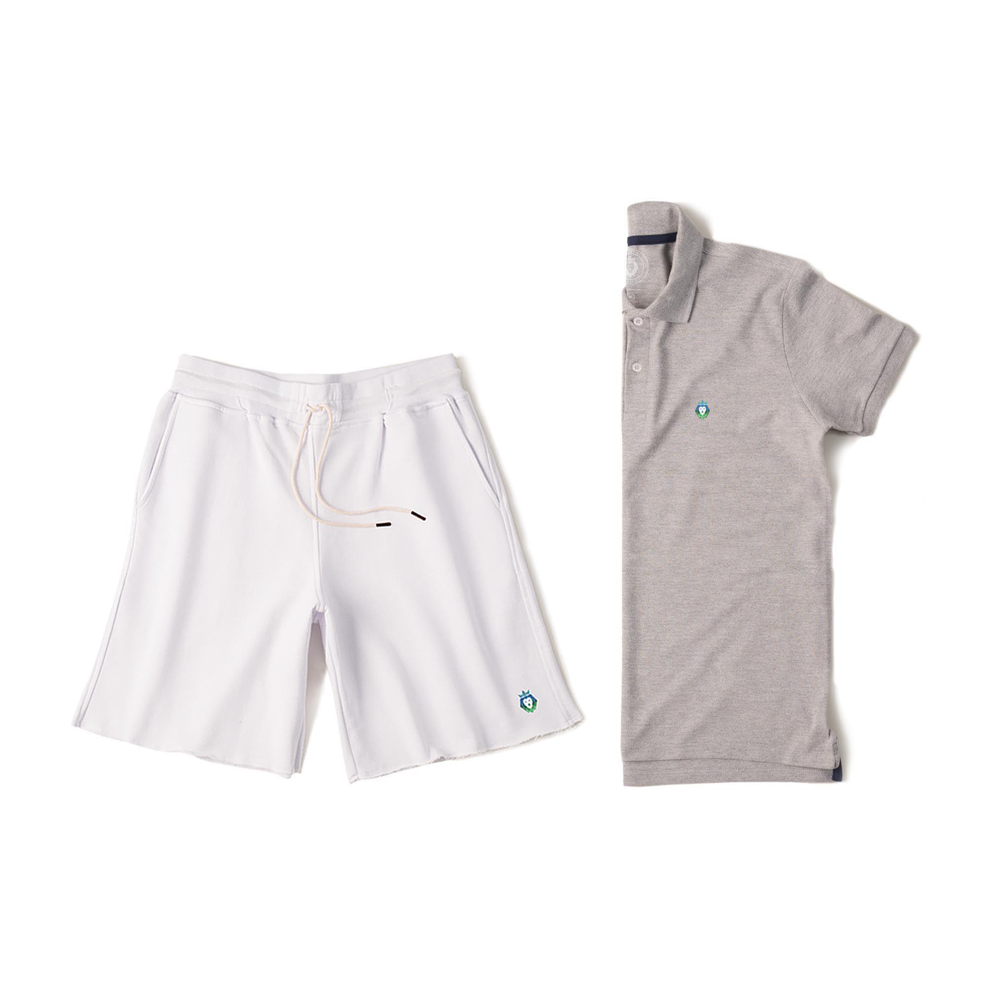 Kit 1 Bermuda Basic Branca + 1 Camisa Polo Style Mescla Zaiden Masculina