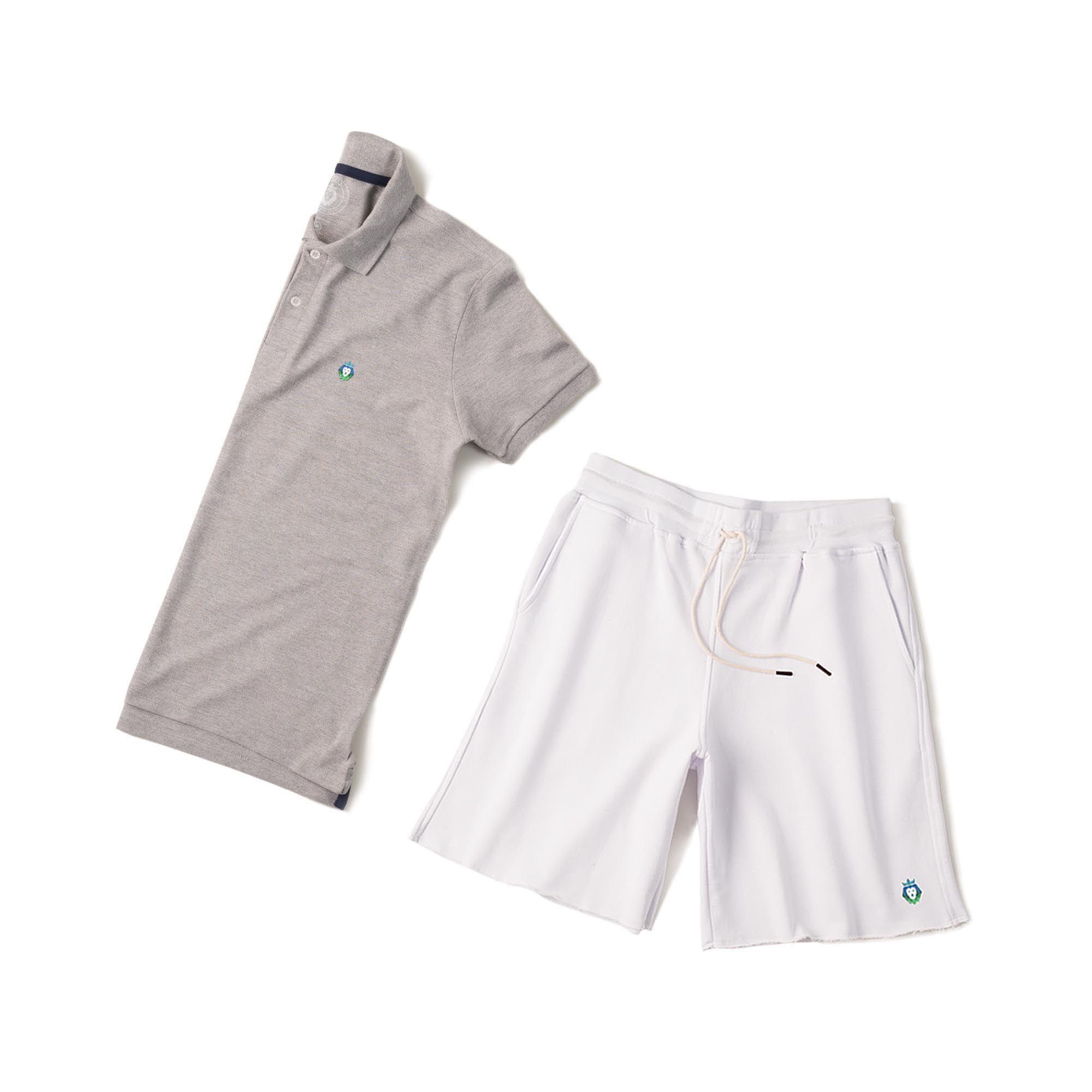 0419a5218 ... Kit 1 Bermuda Basic Branca + 1 Camisa Polo Style Mescla Zaiden Masculina