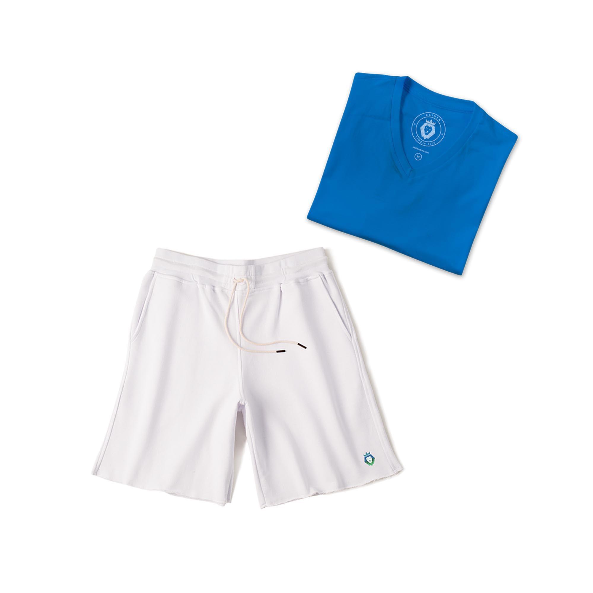 Kit 1 Bermuda Basic Branca + 1 T-Shirt Basic Royal Zaiden Masculina