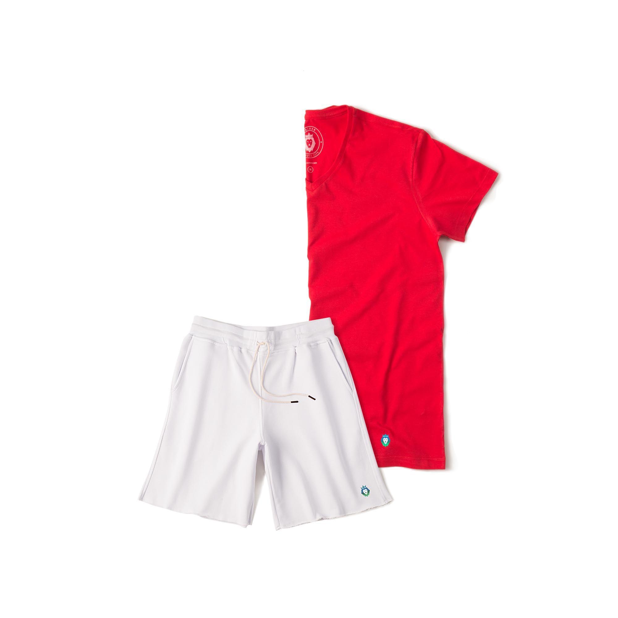 Kit 1 Bermuda Basic Branca + 1 T-Shirt Basic Vermelha Zaiden Masculina