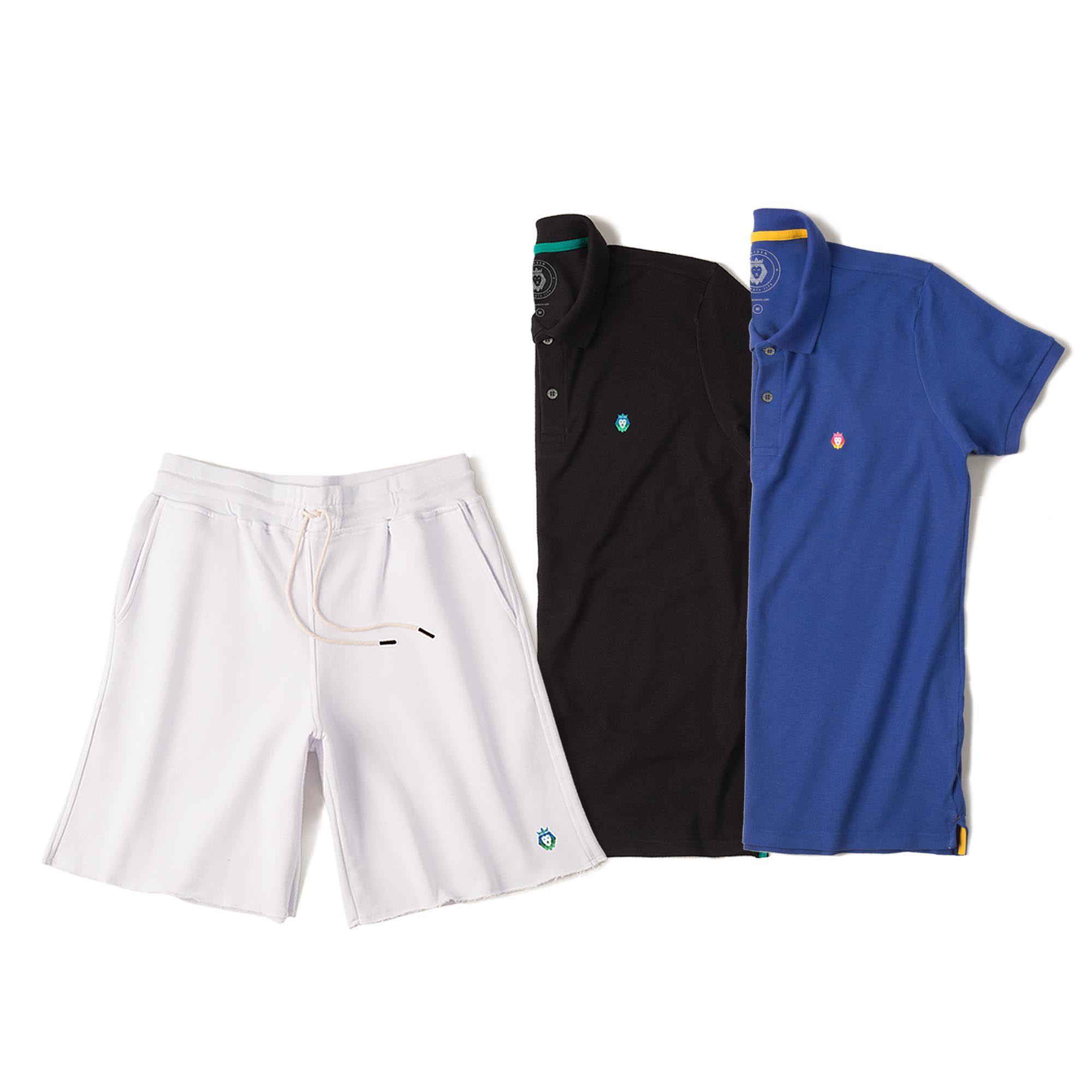 Kit 1 Bermuda Basic Branca + 2 Camisas Polo Style Royal Preta Zaiden Masculina
