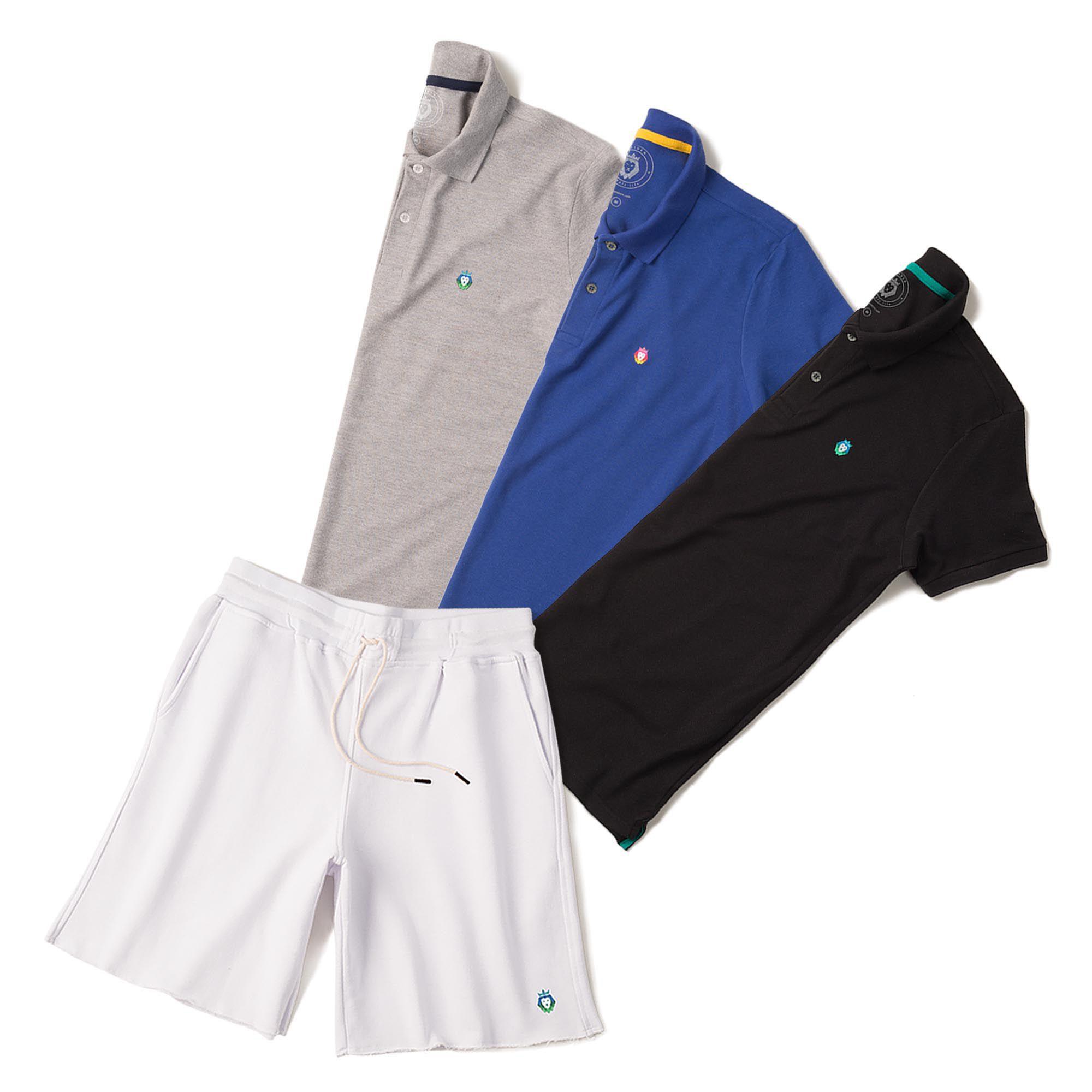 Kit 1 Bermuda Basic Branca + 3 Camisas Polo Style Mescla Preta Royal Zaiden Masculina