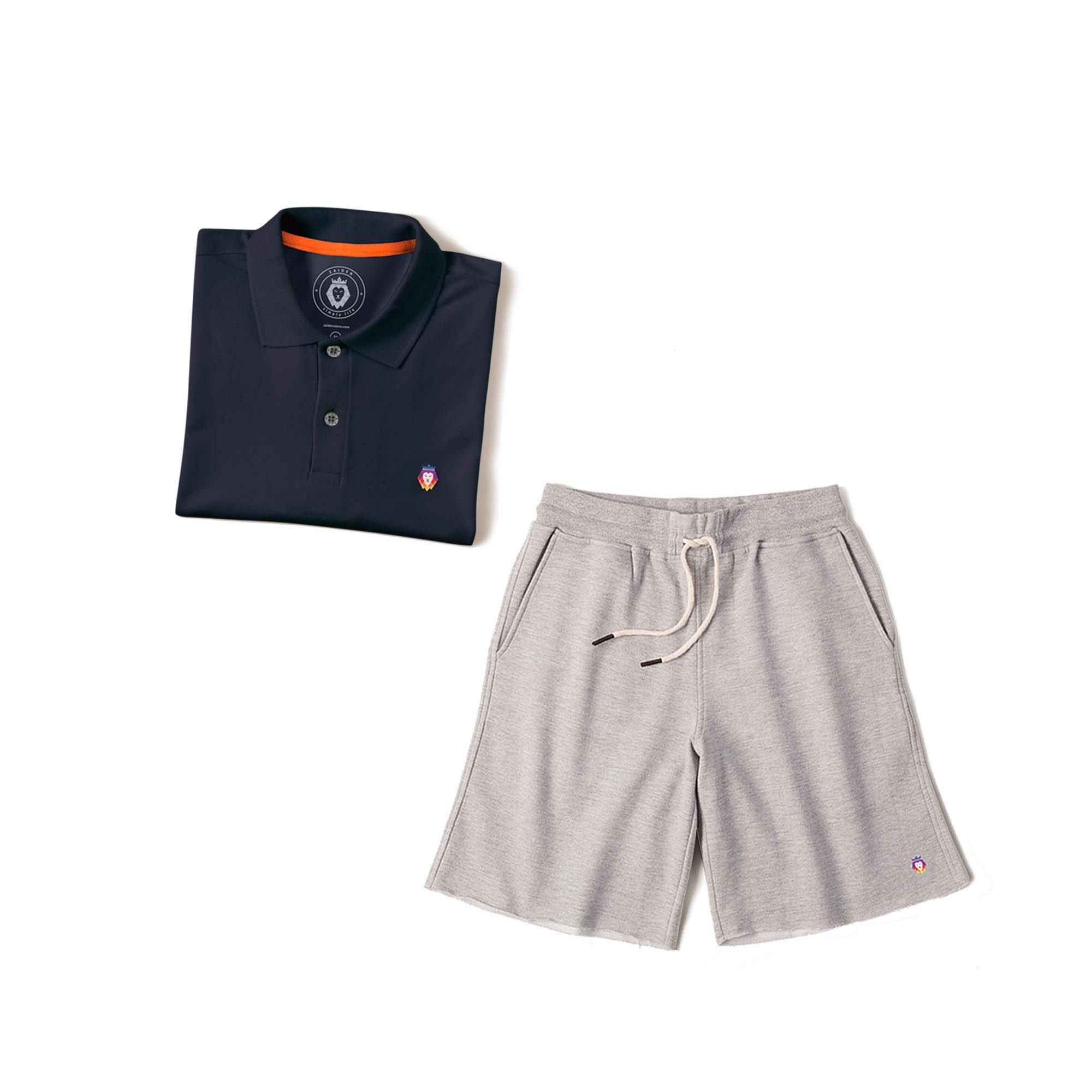 7242d2b09 Kit 1 Bermuda Basic Mescla + 1 Camisa Polo Style Azul Marinho Zaiden  Masculina - ZAIDEN ...