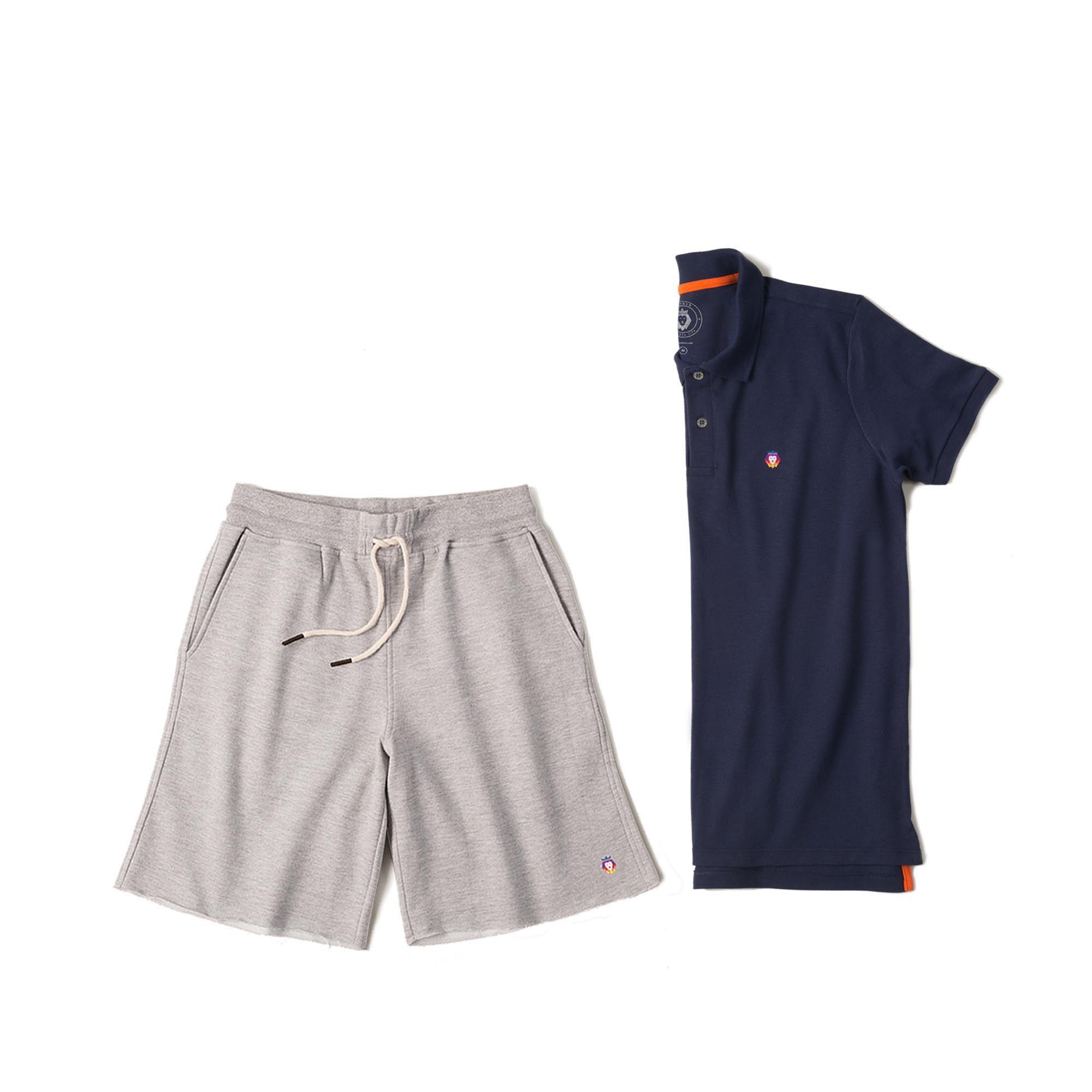 Kit 1 Bermuda Basic Mescla + 1 Camisa Polo Style Azul Marinho Zaiden Masculina