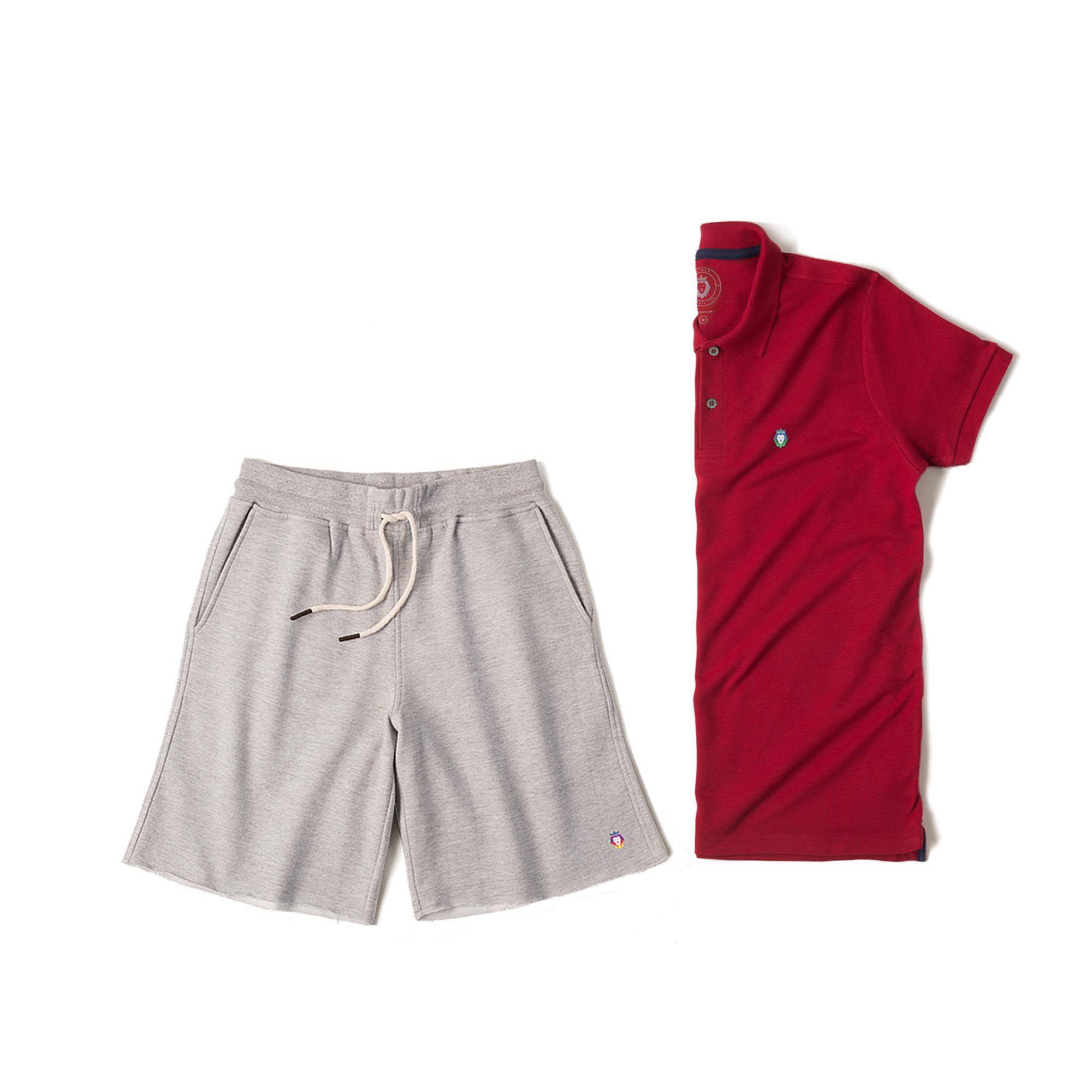 Kit 1 Bermuda Basic Mescla + 1 Camisa Polo Style Bordô Zaiden Masculina