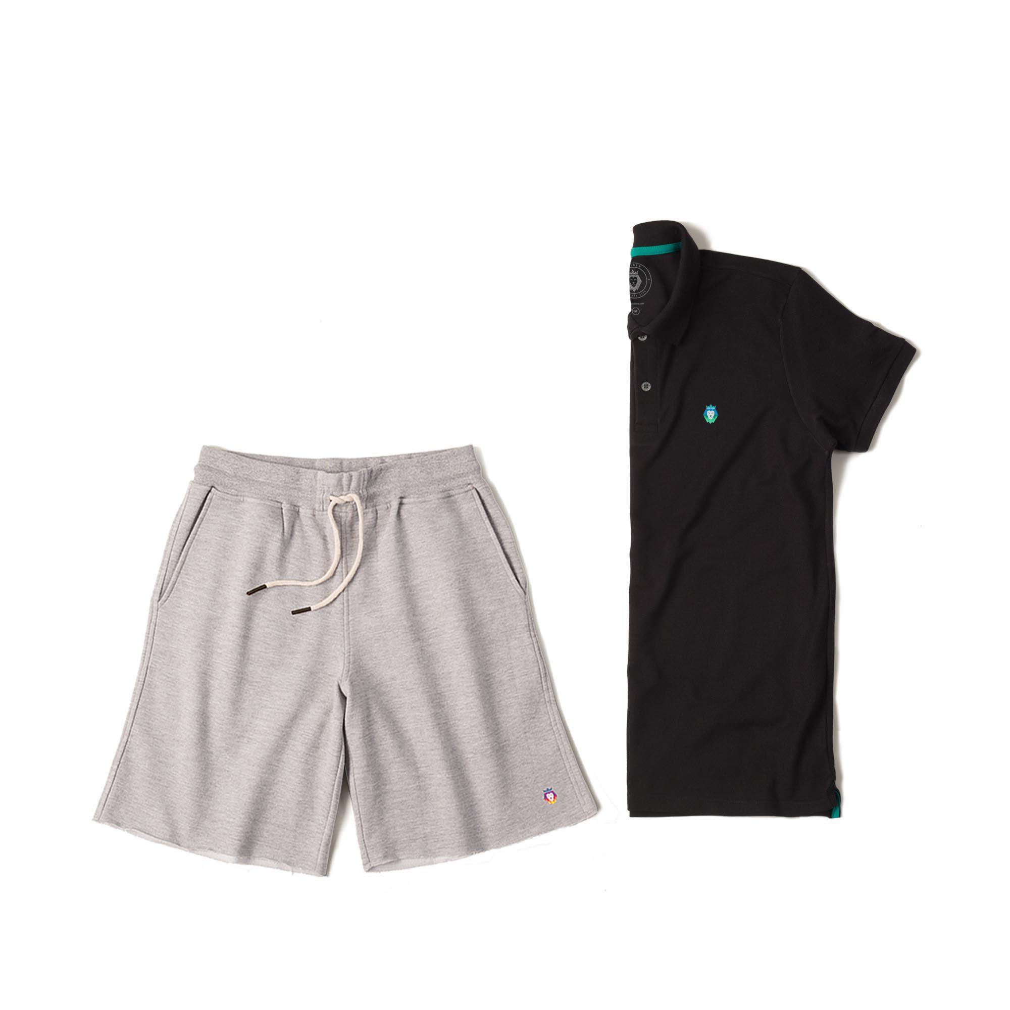 fd42cc814 Kit 1 Bermuda Basic Mescla + 1 Camisa Polo Style Preta Zaiden Masculina
