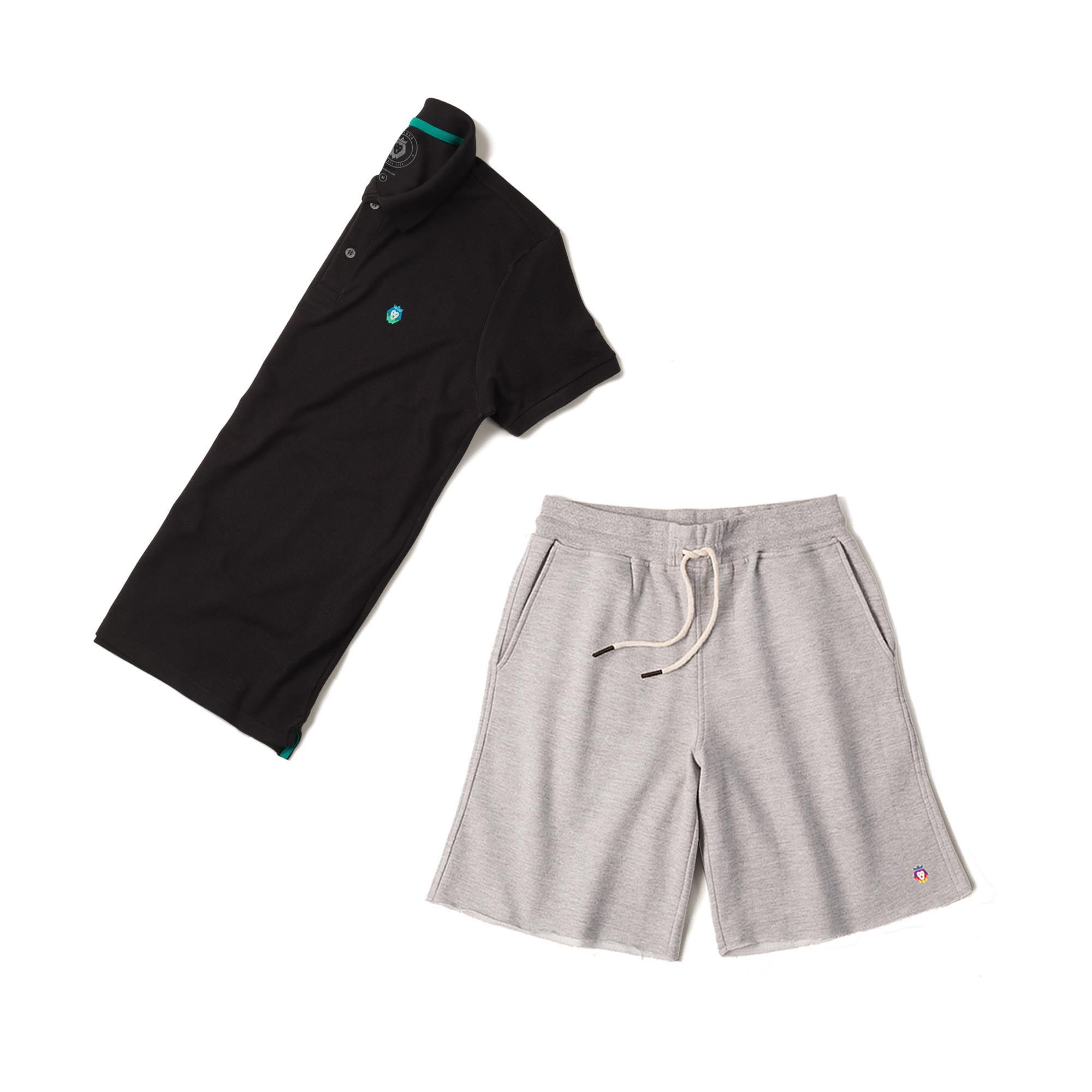 Kit 1 Bermuda Basic Mescla + 1 Camisa Polo Style Preta Zaiden Masculina