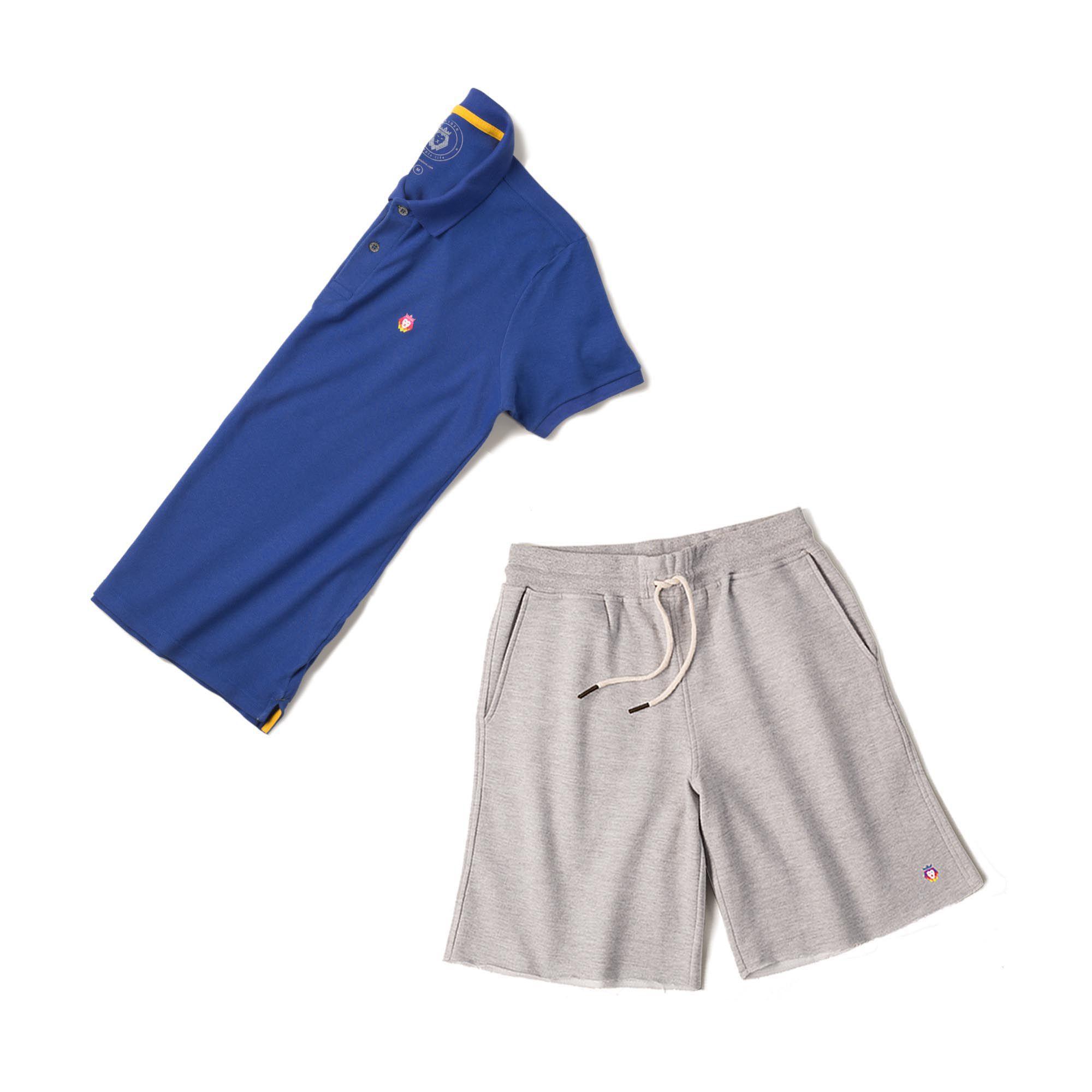 Kit 1 Bermuda Basic Mescla + 1 Camisa Polo Style Royal Zaiden Masculina