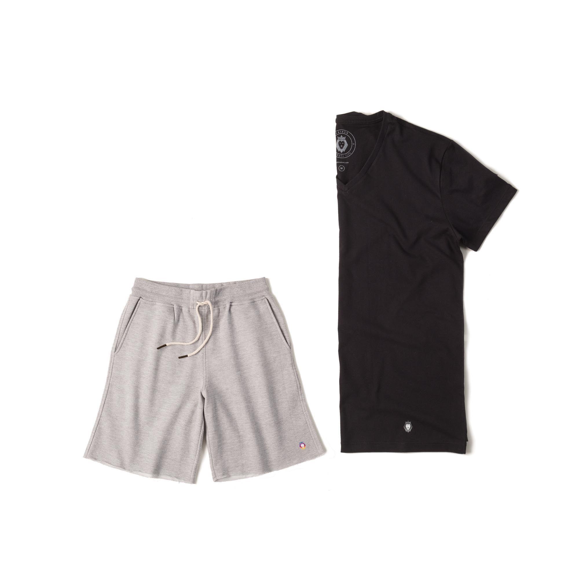 Kit 1 Bermuda Basic Mescla + 1 T-Shirt Basic Preta Zaiden Masculina