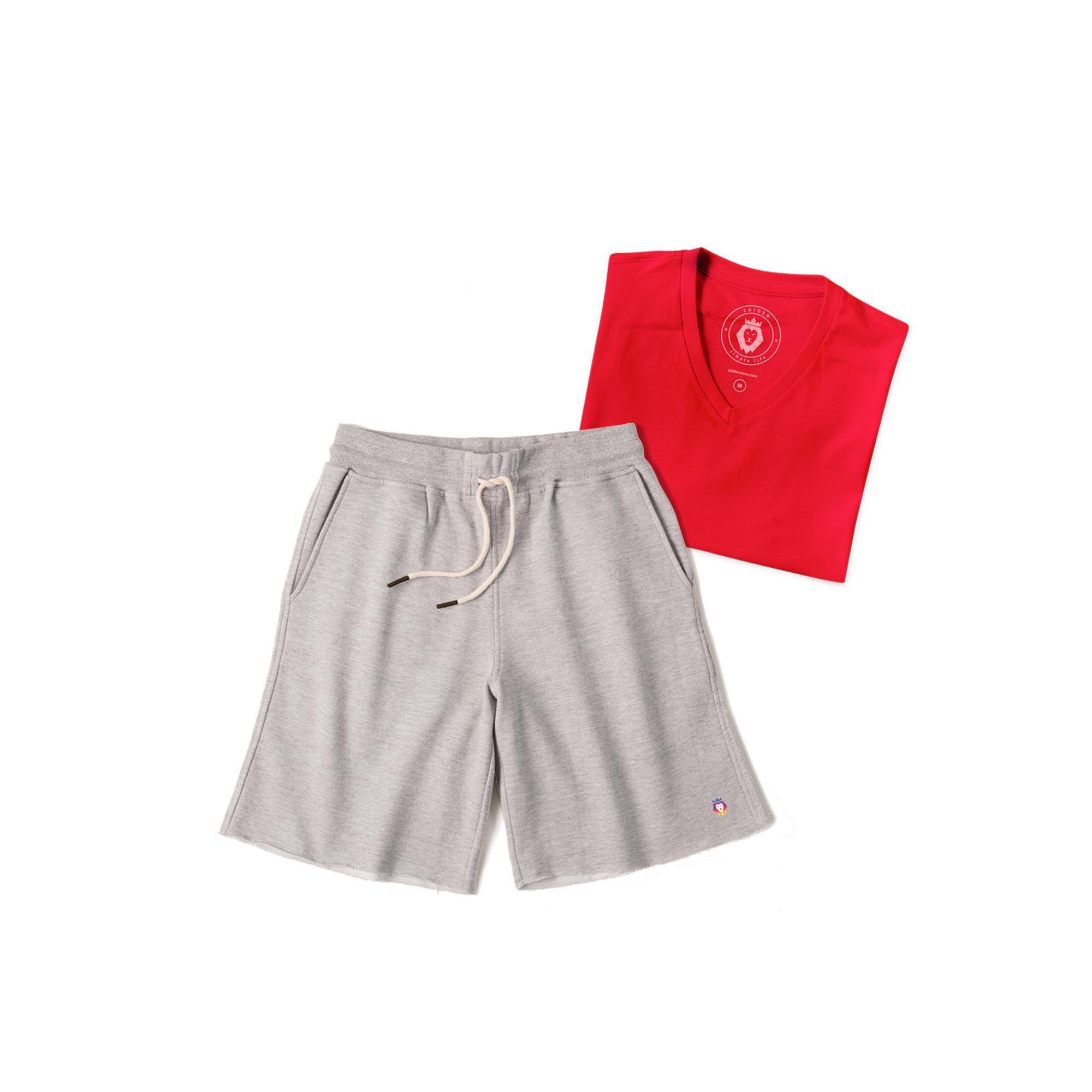 Kit 1 Bermuda Basic Mescla + 1 T-Shirt Basic Vermelha Zaiden Masculina