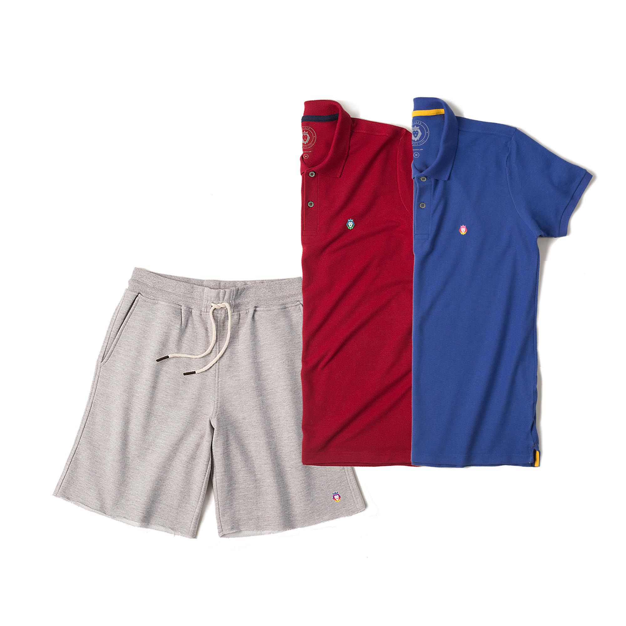 Kit 1 Bermuda Basic Mescla + 2 Camisas Polo Style Bordô Royal Zaiden Masculina