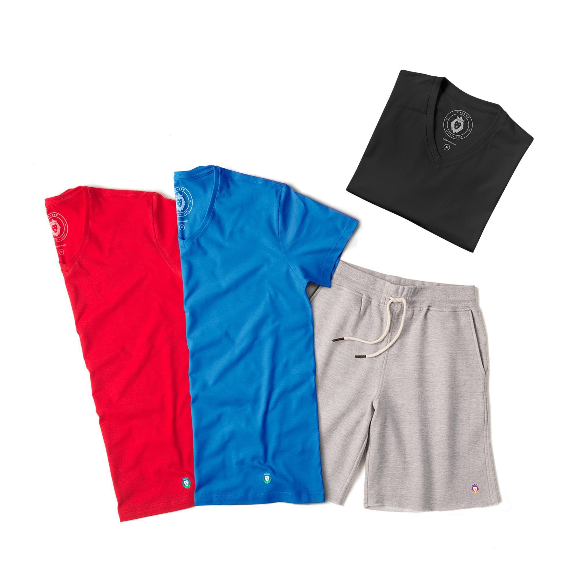 Kit 1 Bermuda Basic Mescla + 3 T-Shirts Basic Vermelha  Preta Royal Zaiden Masculina