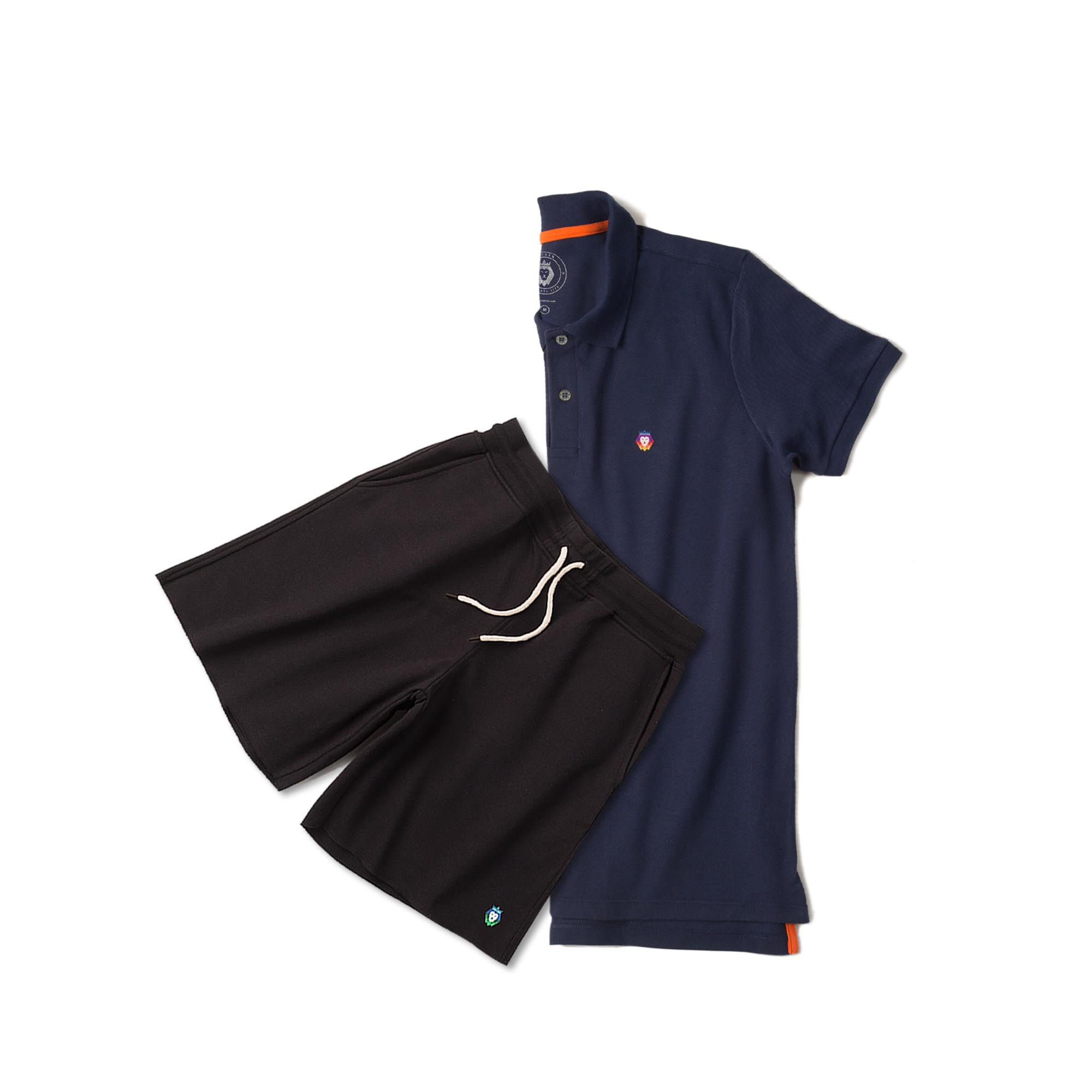 Kit 1 Bermuda Basic Preta + 1 Camisa Polo Style Azul Marinho Zaiden Masculina