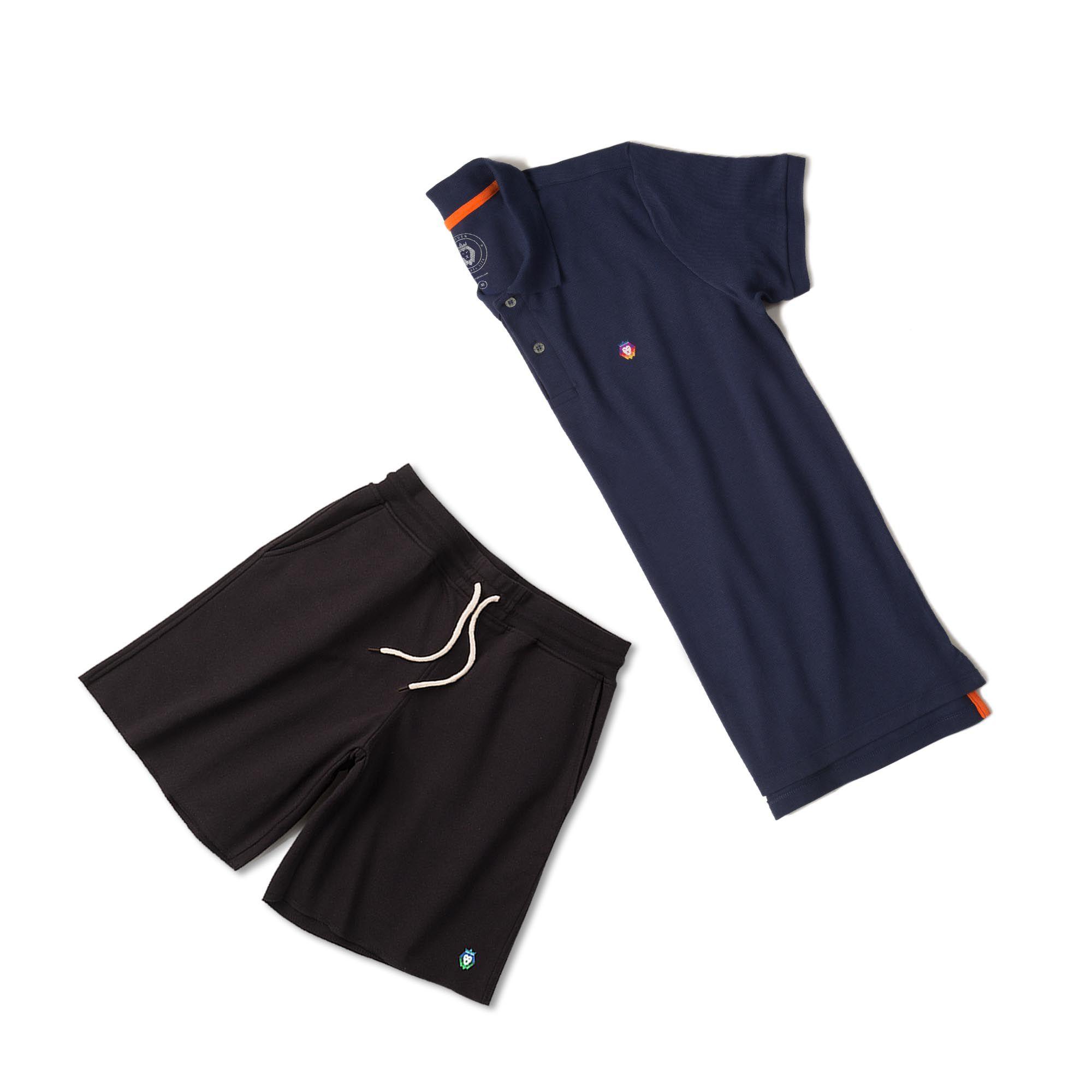 de7ae4a89 ... Kit 1 Bermuda Basic Preta + 1 Camisa Polo Style Azul Marinho Zaiden  Masculina