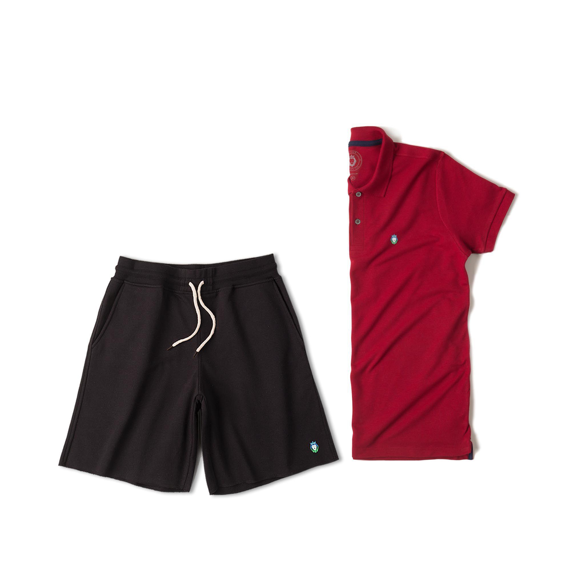 Kit 1 Bermuda Basic Preta + 1 Camisa Polo Style Bordô Zaiden Masculina