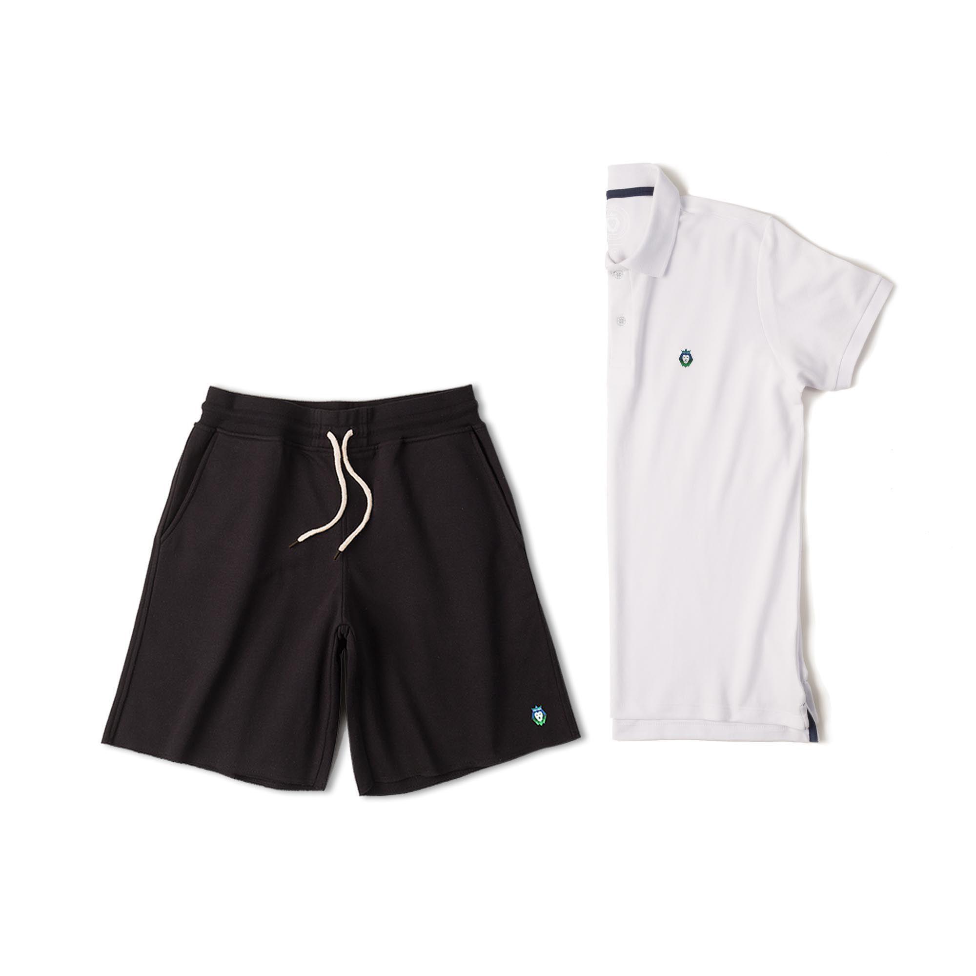 98c925fcb Kit 1 Bermuda Basic Preta + 1 Camisa Polo Style Branca Zaiden Masculina