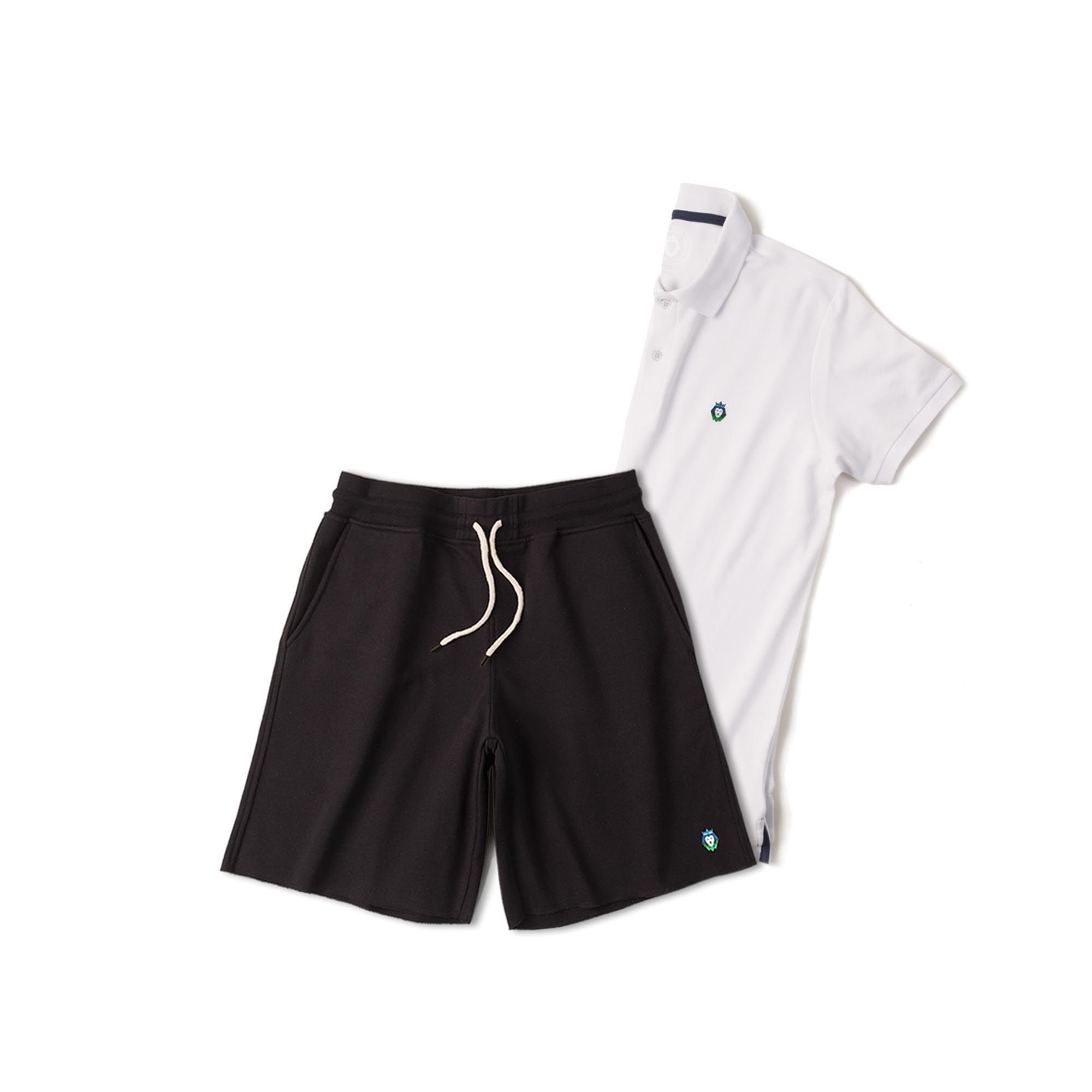 Kit 1 Bermuda Basic Preta + 1 Camisa Polo Style Branca Zaiden Masculina