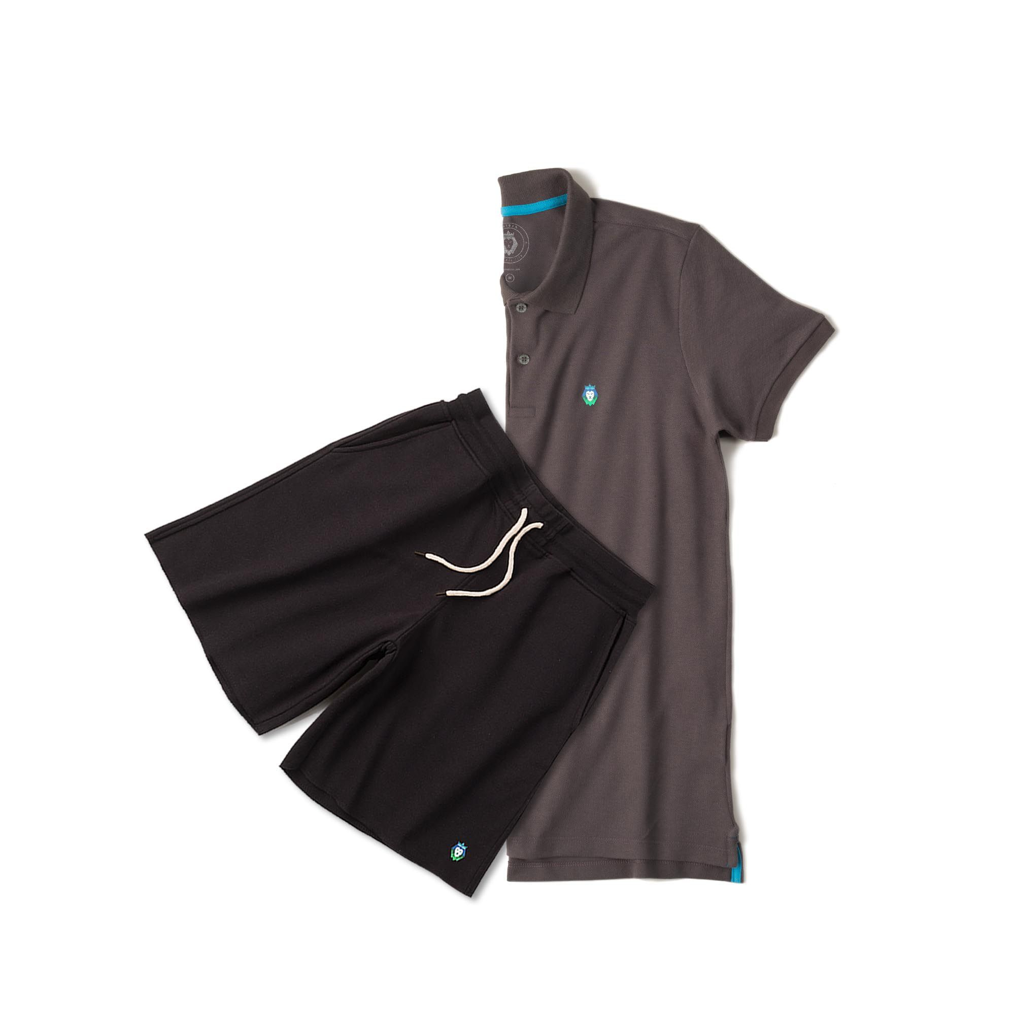 Kit 1 Bermuda Basic Preta + 1 Camisa Polo Style Cinza Zaiden Masculina
