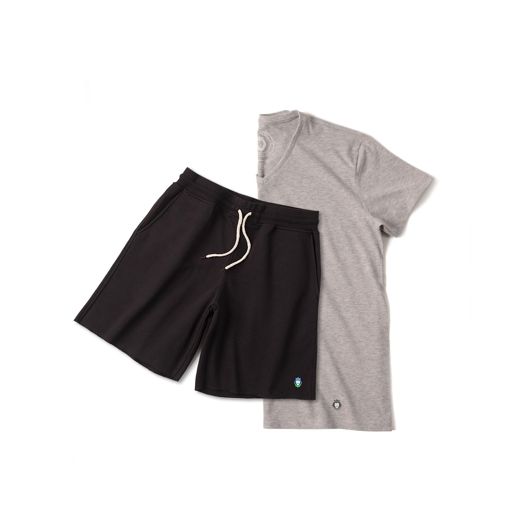 Kit 1 Bermuda Basic Preta + 1 T- Shirt Basic Mescla Zaiden Masculina