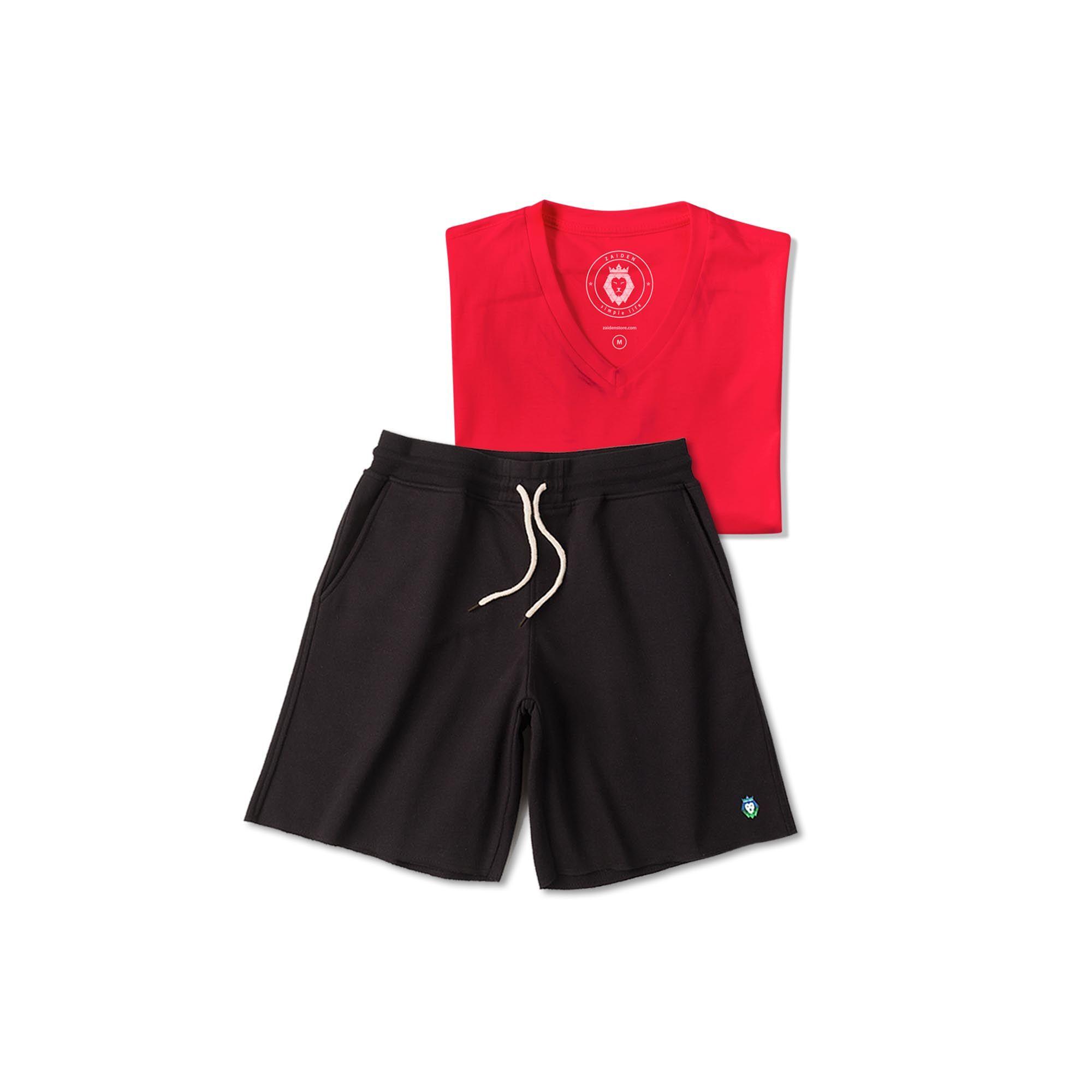 Kit 1 Bermuda Basic Preta + 1 T-Shirt Basic Vermelha Zaiden Masculina