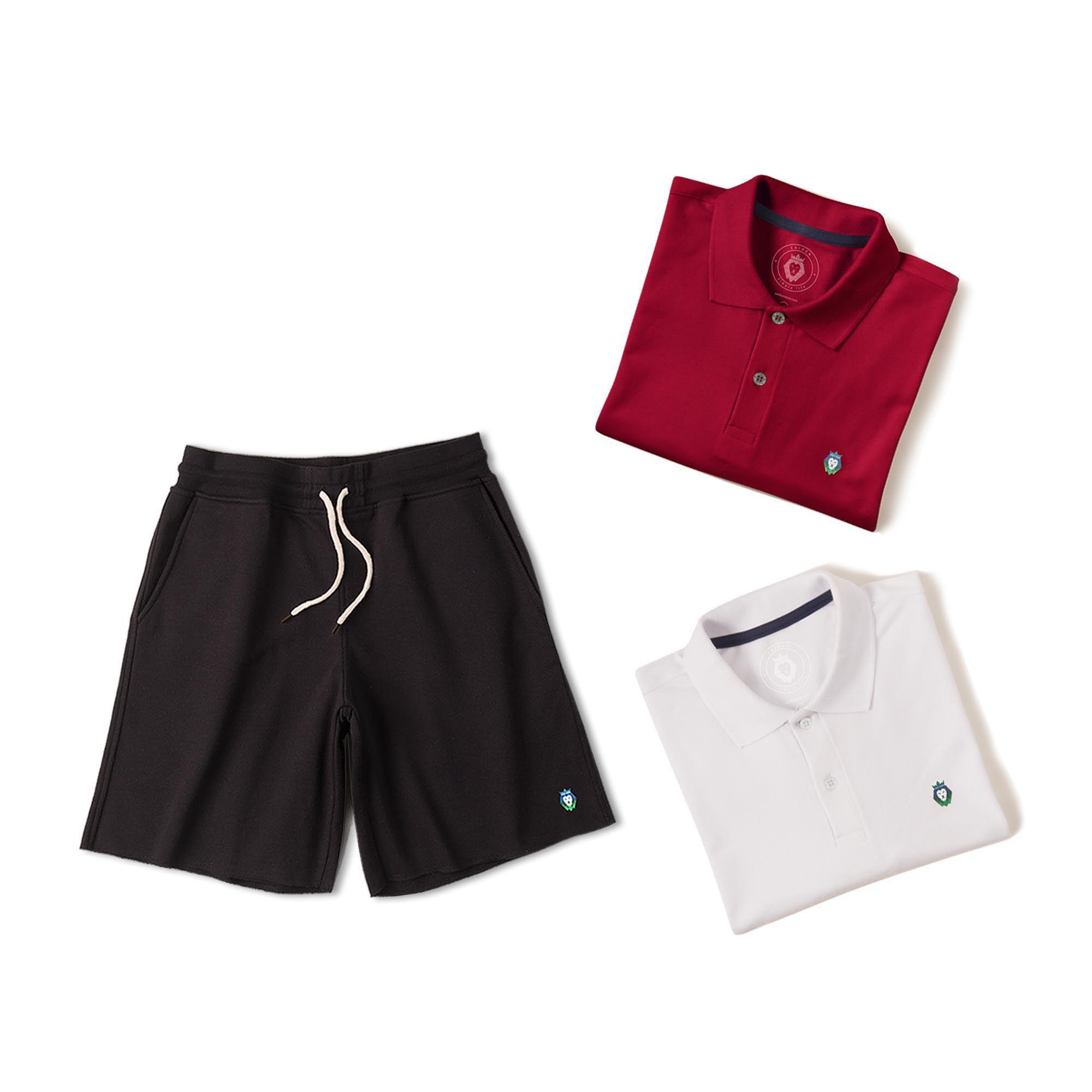 Kit 1 Bermuda Basic Preta + 2 Camisas Polo Style Branca Bordô Zaiden Masculina