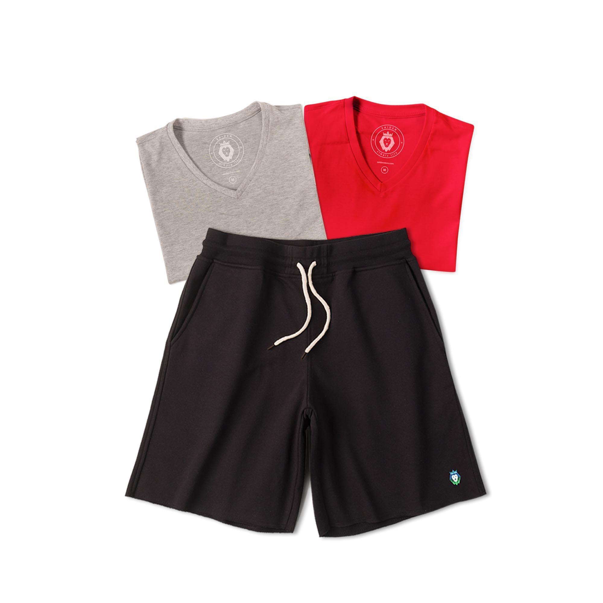 Kit 1 Bermuda Basic Preta + 2 T-Shirts Basic Mescla Vermelha Zaiden Masculina