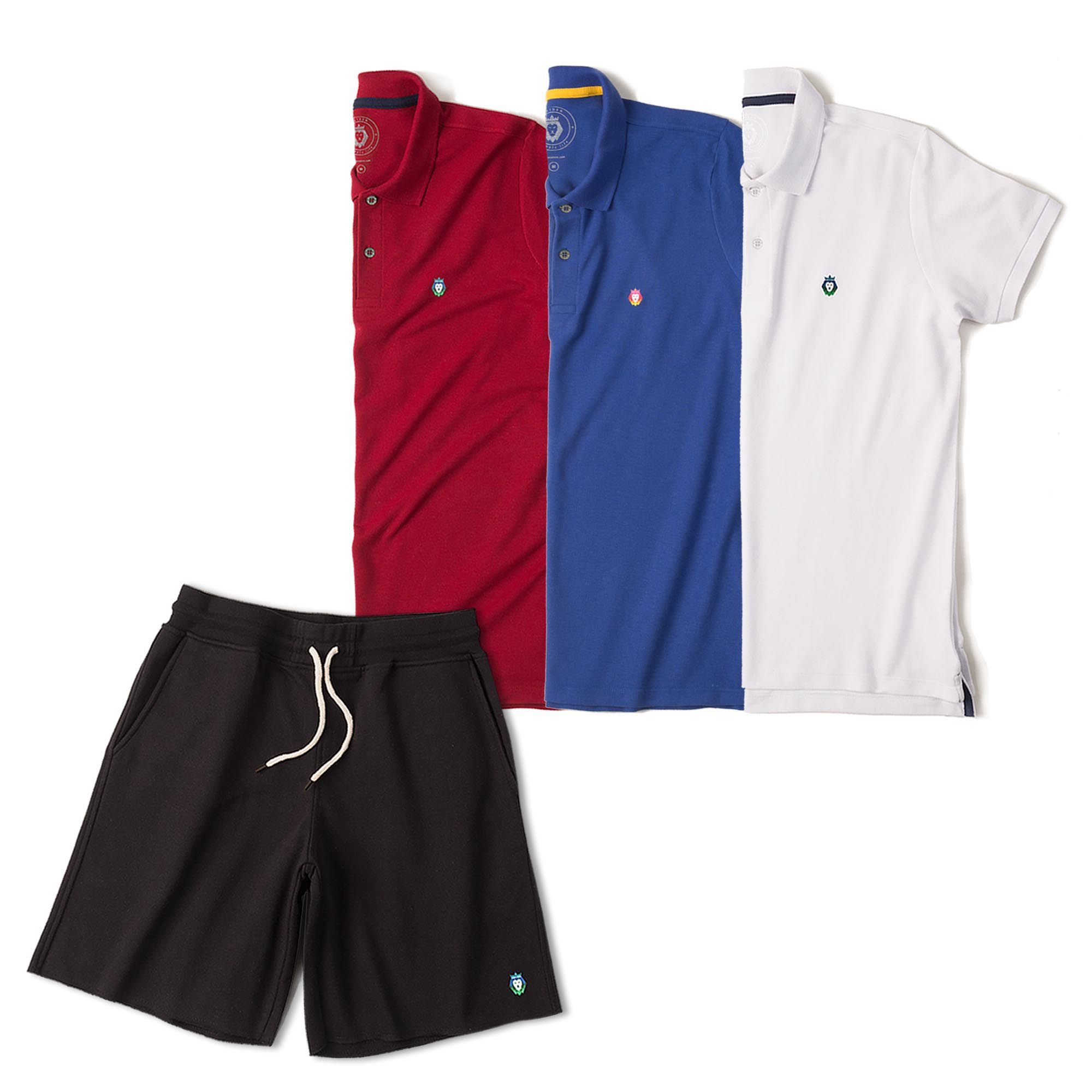 ff65066dc Kit 1 Bermuda Basic Preta + 3 Camisas Polo Style Branca Bordô Royal Zaiden  Masculina ...