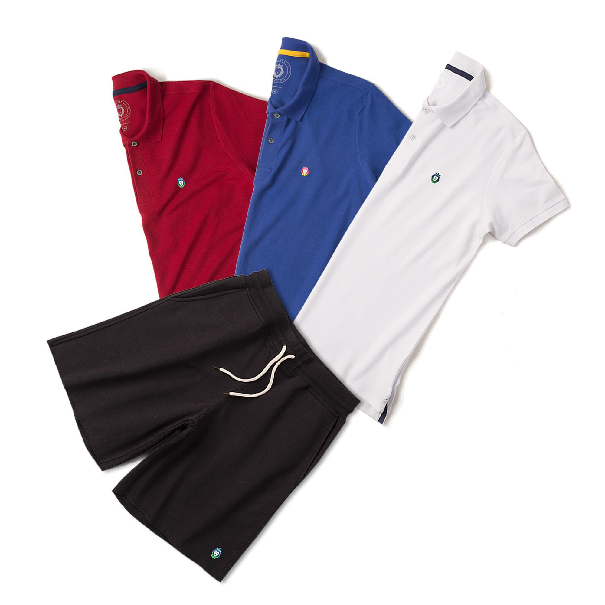 Kit 1 Bermuda Basic Preta + 3 Camisas Polo Style Branca Bordô Royal Zaiden Masculina