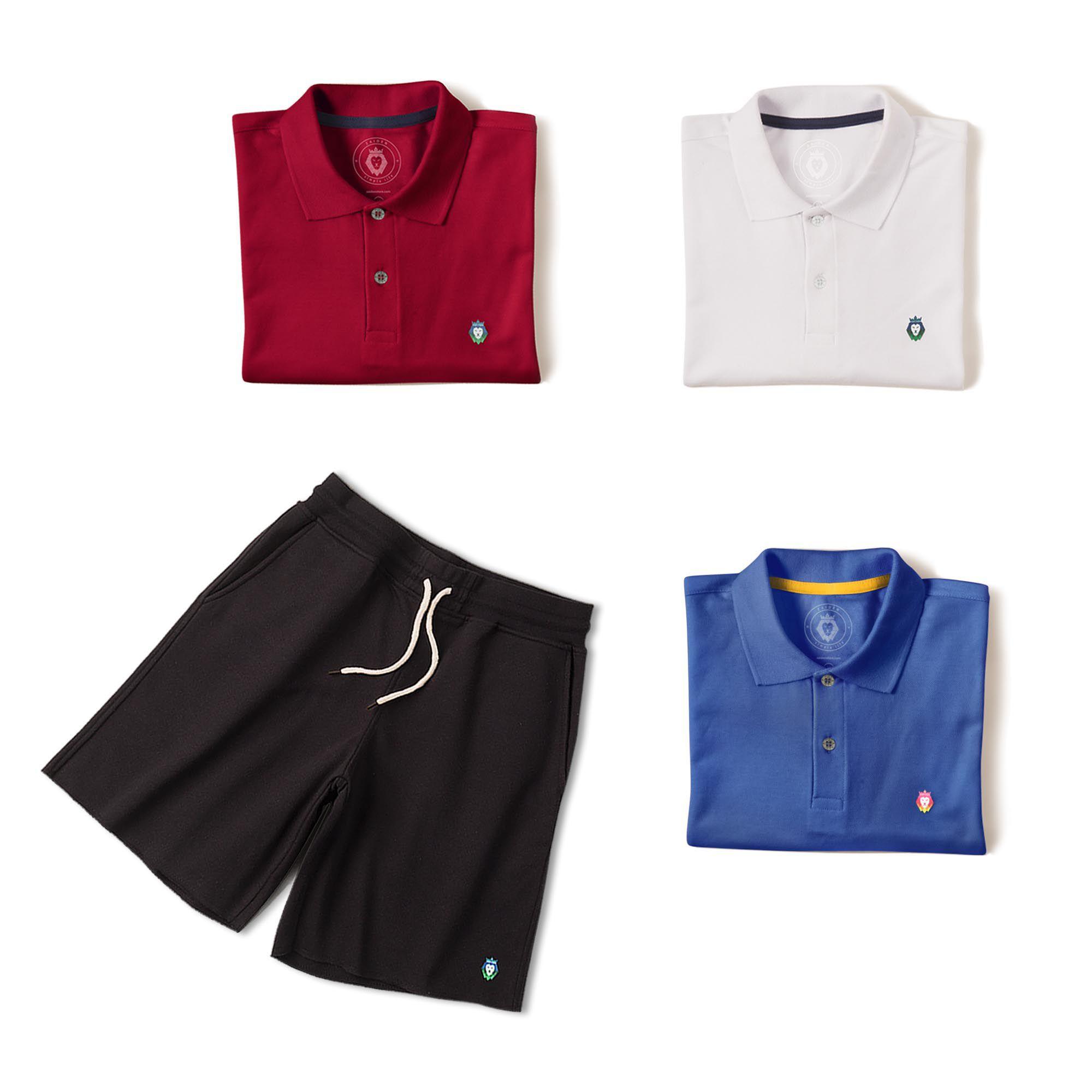 6ca57f9ec ... Kit 1 Bermuda Basic Preta + 3 Camisas Polo Style Branca Bordô Royal Zaiden  Masculina -