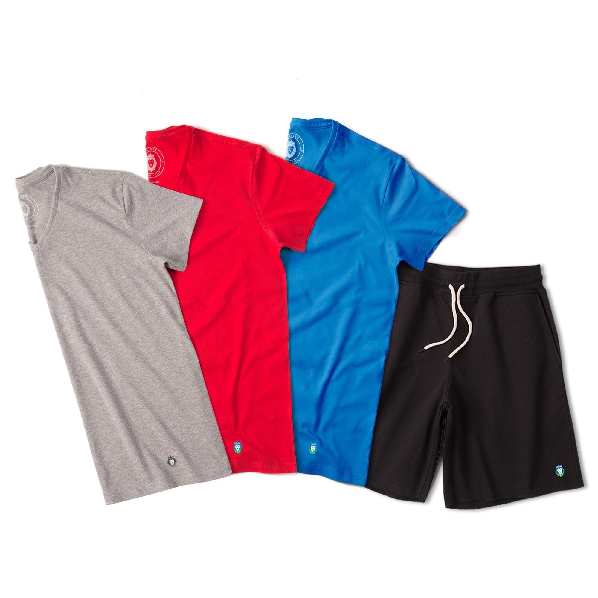 Kit 1 Bermuda Basic Preta + 3 T-Shirts Basic Royal Bordô Mescla Zaiden Masculina