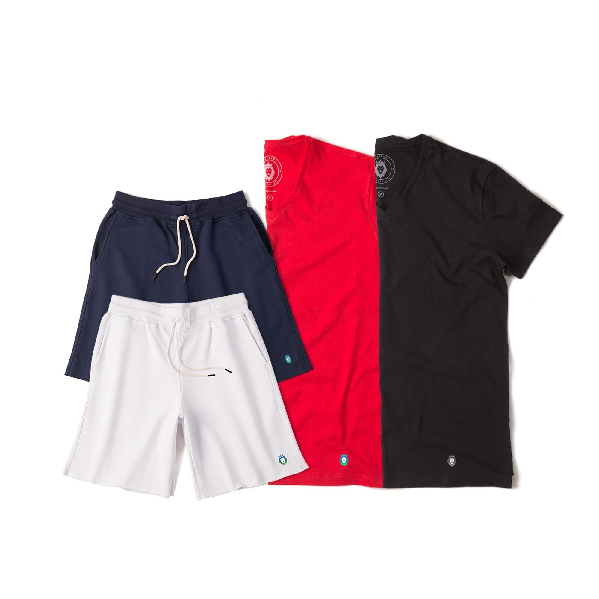 Kit 2 Bermudas Basic Azul Marinho Branca + 2 T-Shirts Basic Preta Vermelha Zaiden Masculina