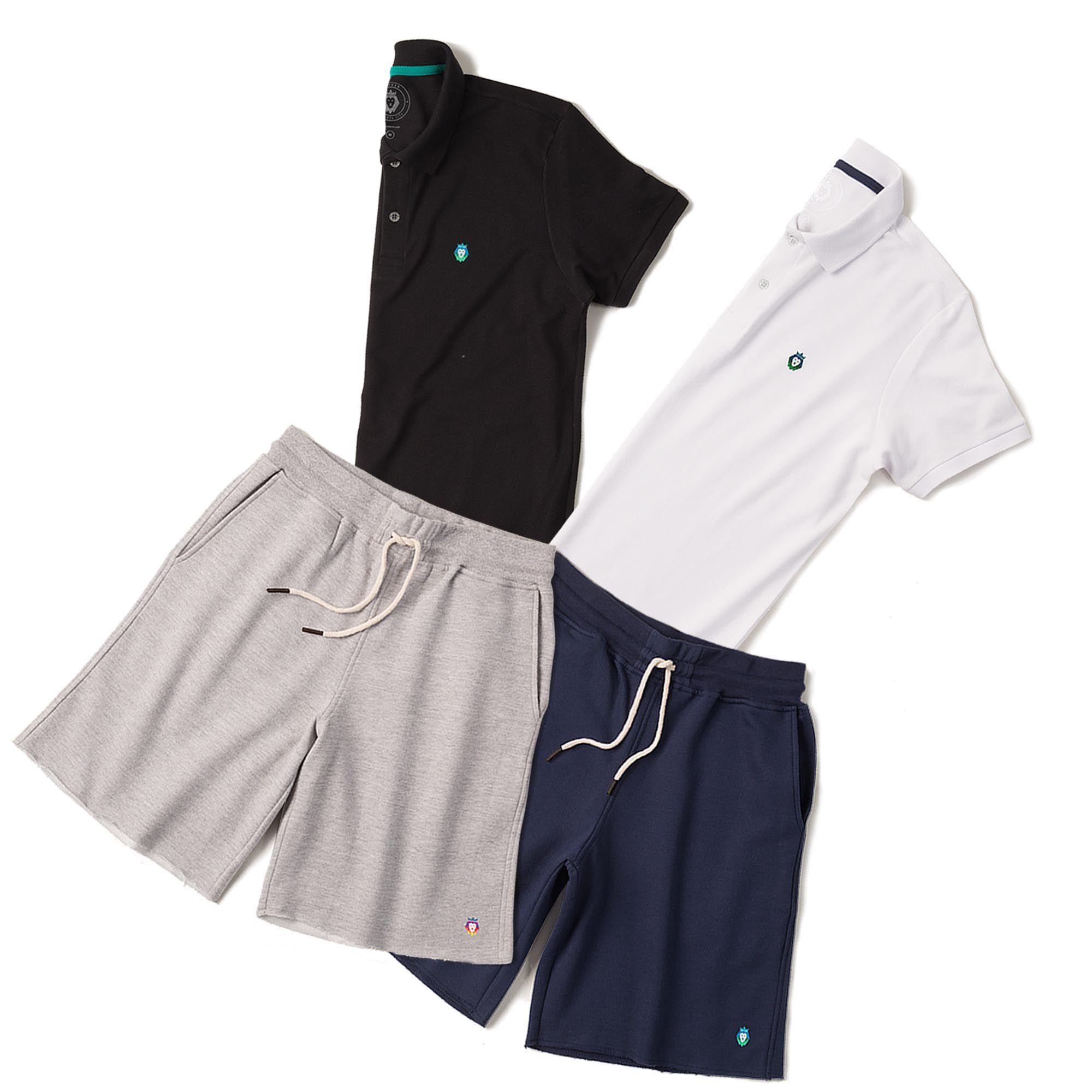 76e3173b4 Kit 2 Bermudas Basic Azul Marinho Mescla + 2 Camisas Polo Style Preta Branca  Zaiden Masculina ...
