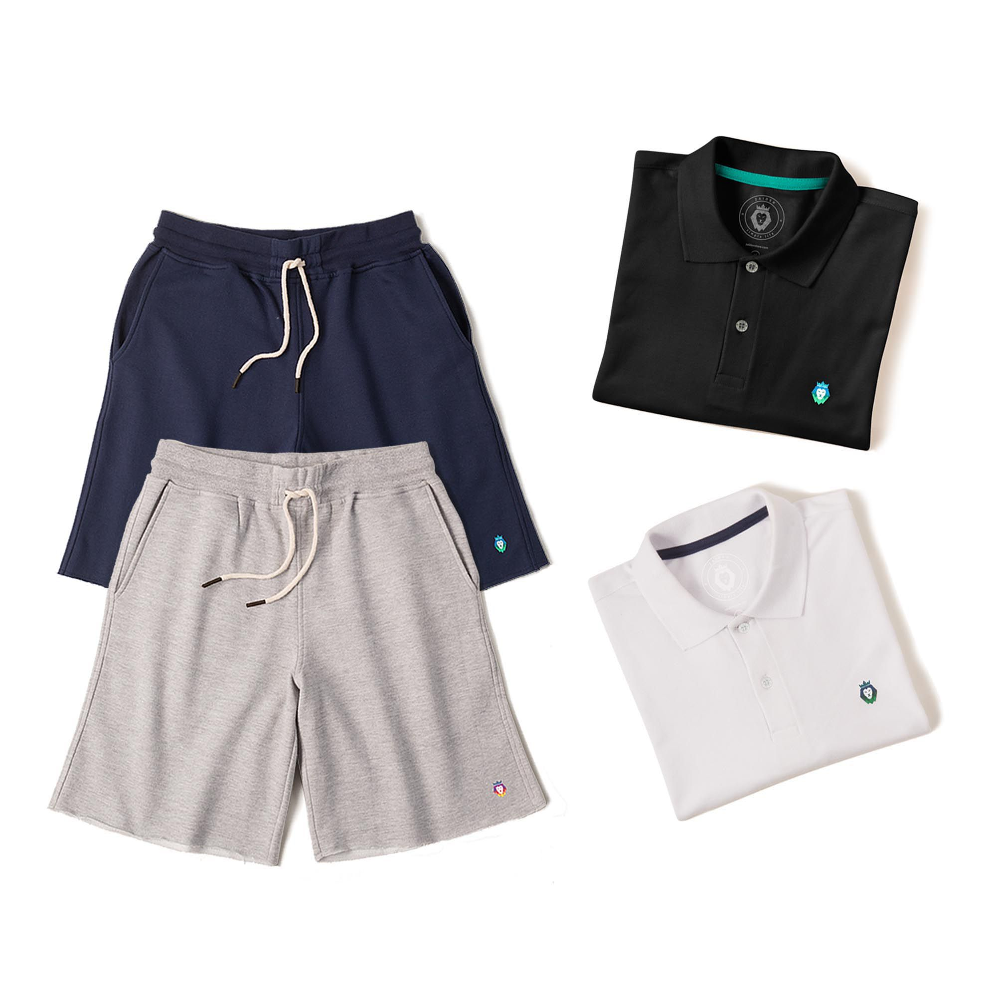 Kit 2 Bermudas Basic Azul Marinho Mescla + 2 Camisas Polo Style Preta Branca Zaiden Masculina