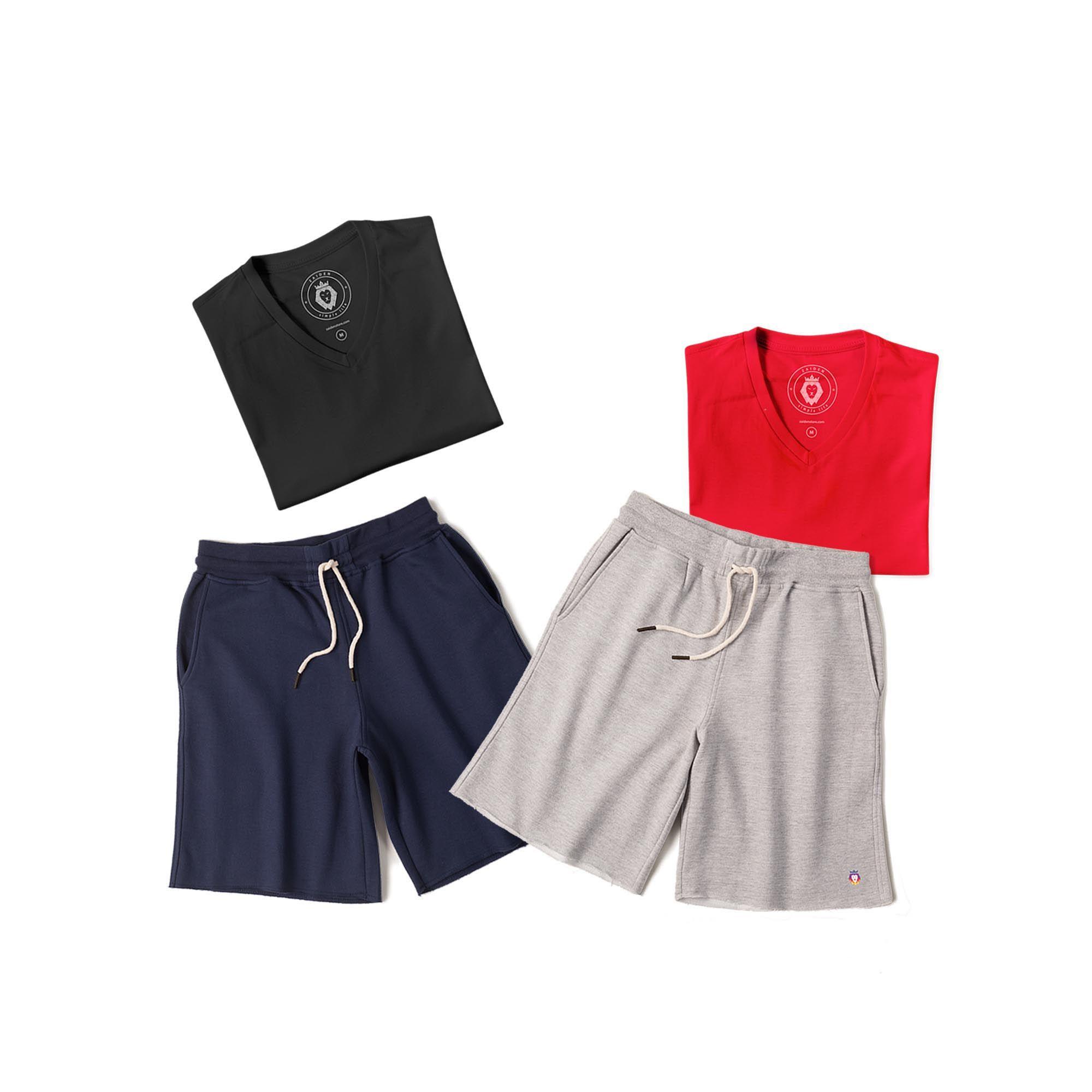 Kit 2 Bermudas Basic Azul Marinho Mescla + 2 T-Shirt Basic Vermelha Preta Zaiden Masculina