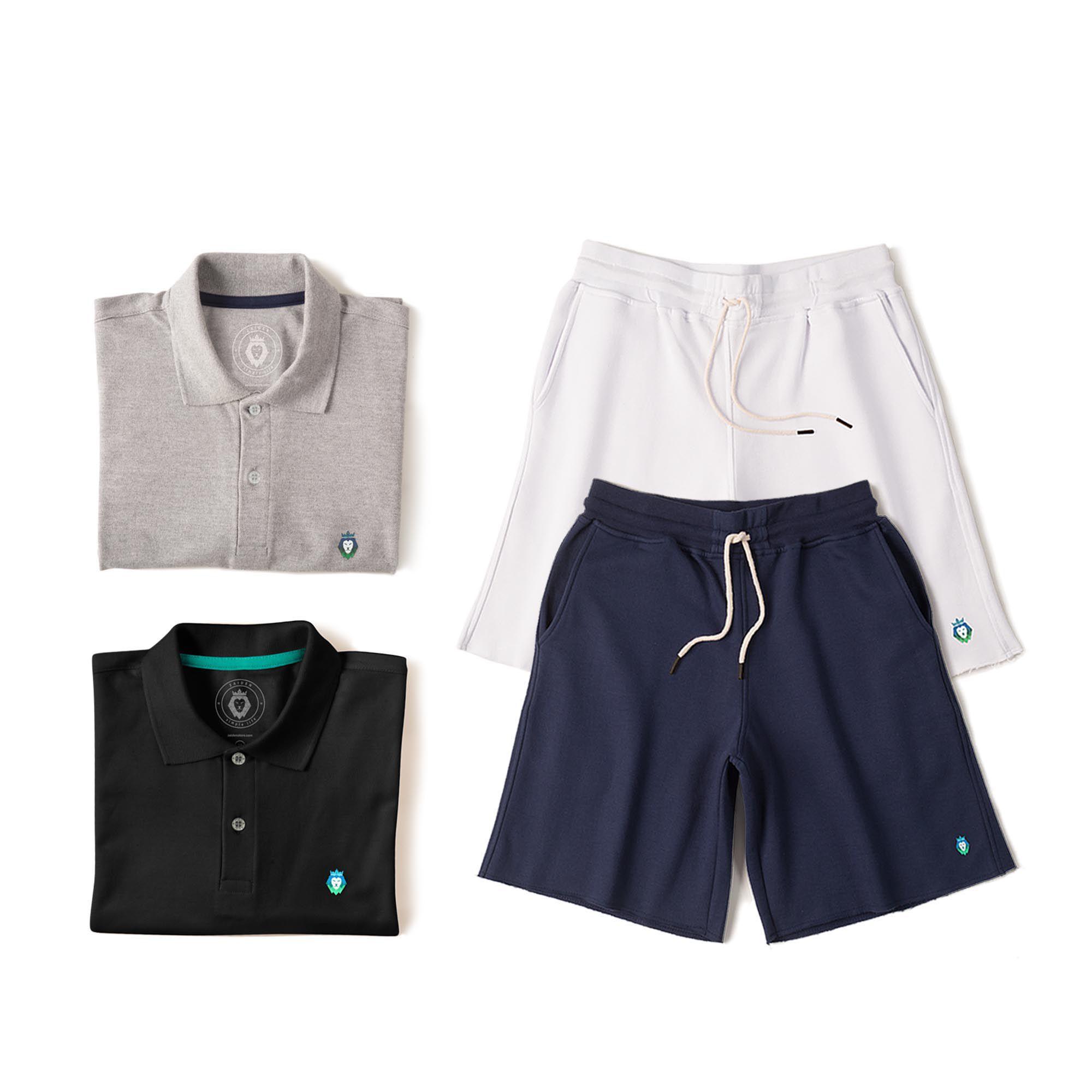 Kit 2 Bermudas Basic Branca Azul Marinho + 2 Camisas Polo Style Mescla Preta Zaiden Masculina