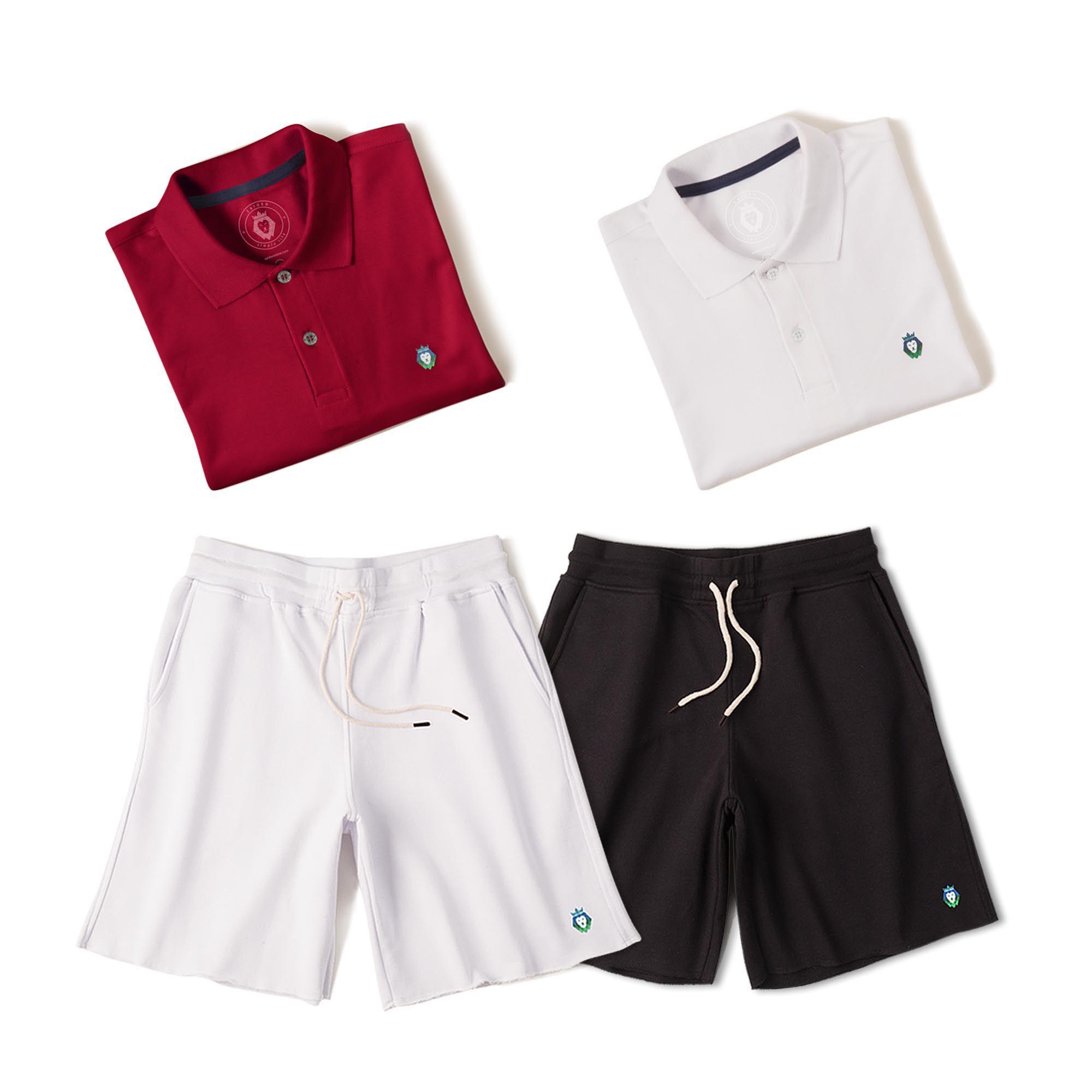 Kit 2 Bermudas Basic Preta Branca + 2 Camisas Polo Style Branca Bordô Zaiden Masculina
