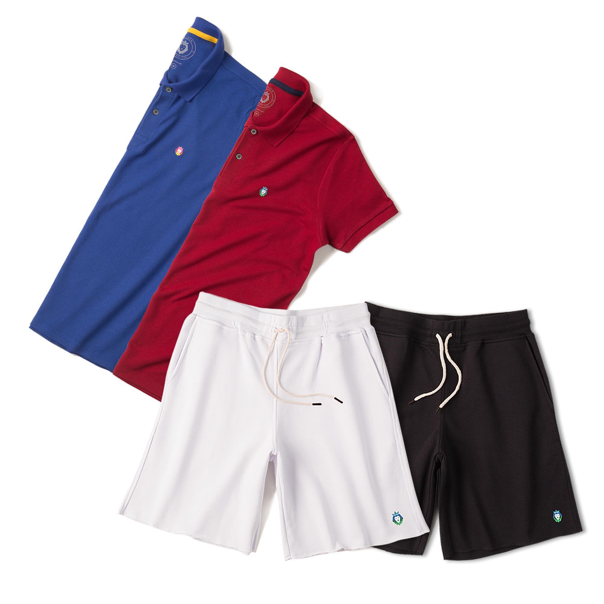 Kit 2 Bermudas Basic Preta Branca + 2 Camisas Polo Style Royal Bordô Zaiden Masculina