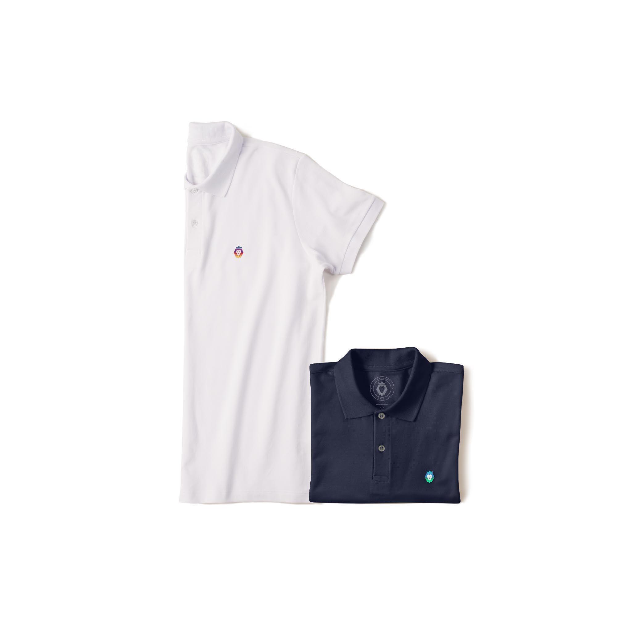 Kit 2 Camisas Polo Basic Zaiden Azul Marinho Branca  Masculina
