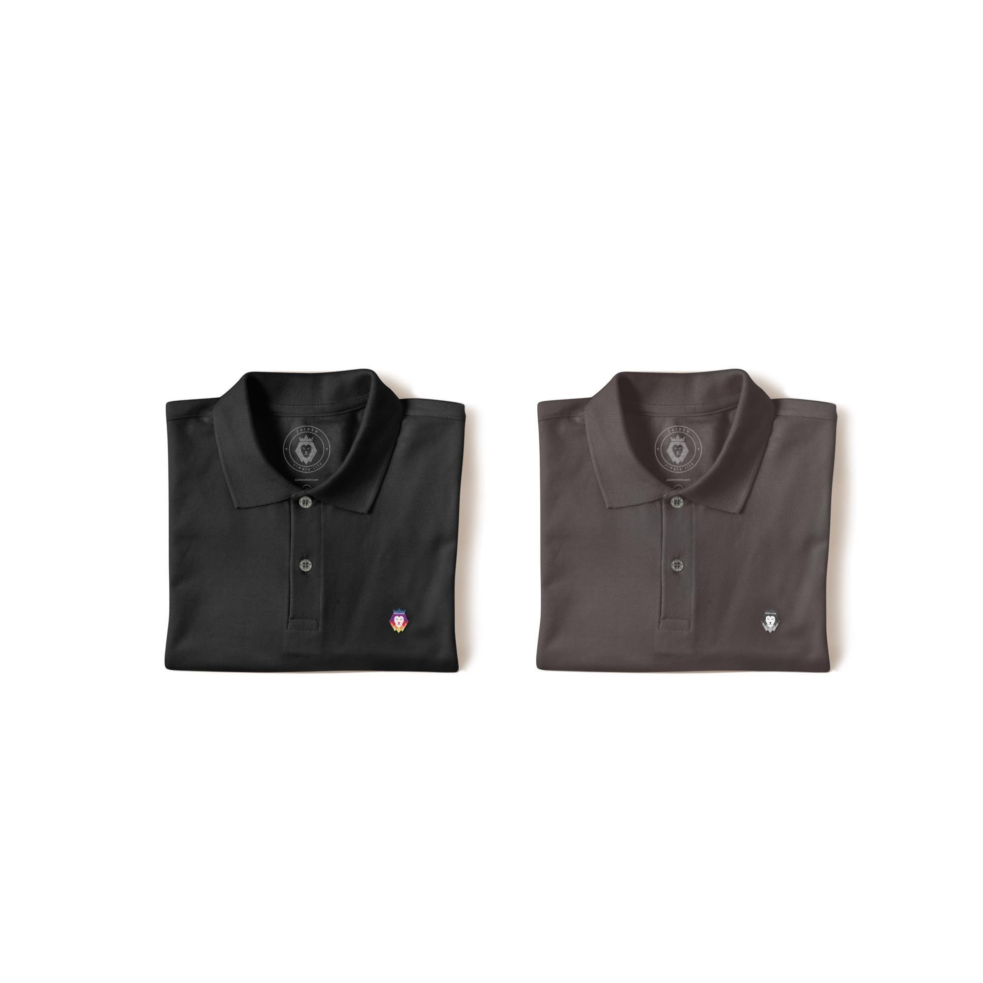 Kit 2 Camisas Polo Basic Zaiden Preta Cinza Masculina